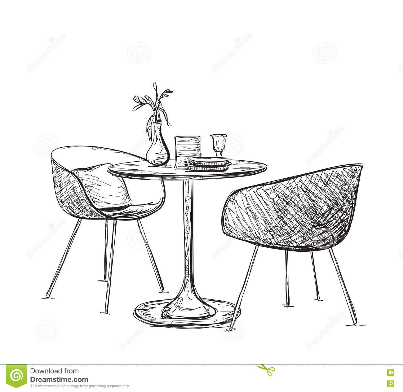 Sketch Of Modern Interior Table And Chairs Stock Vector