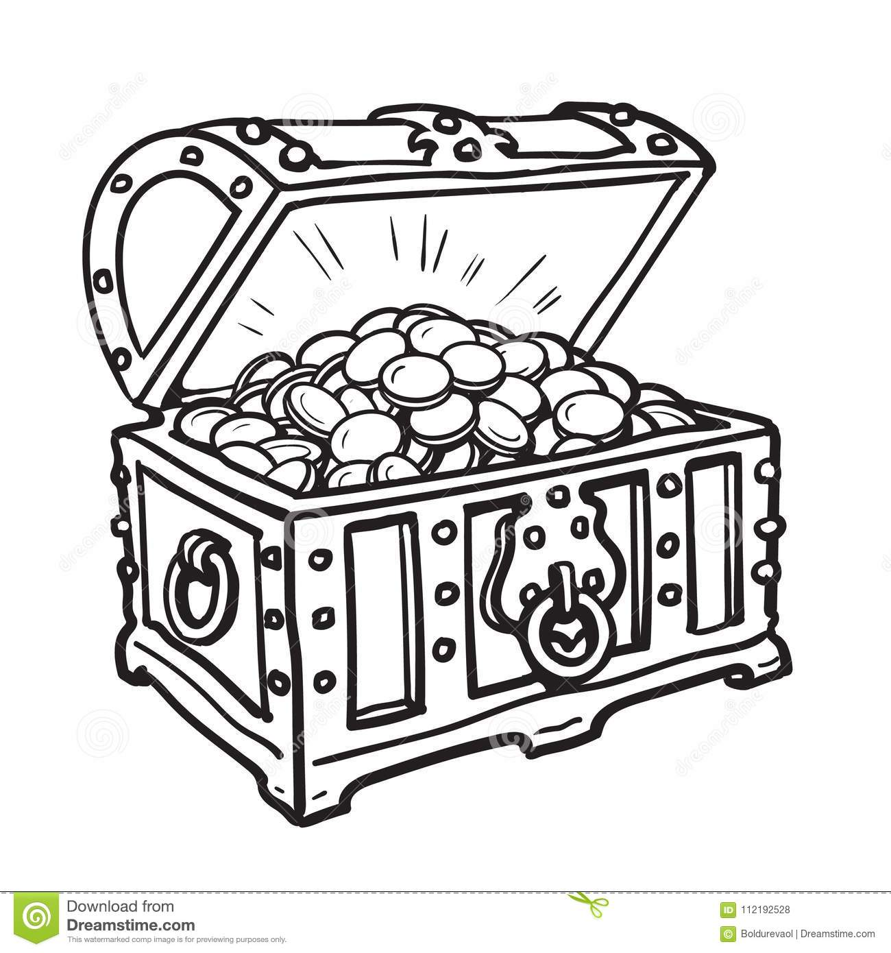 Old Chest With Gold Coins Stock Vector Illustration Of