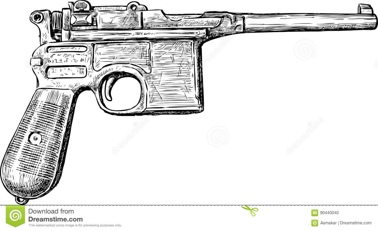 Sketch Of An Old Gun Stock Vector Illustration Of Army