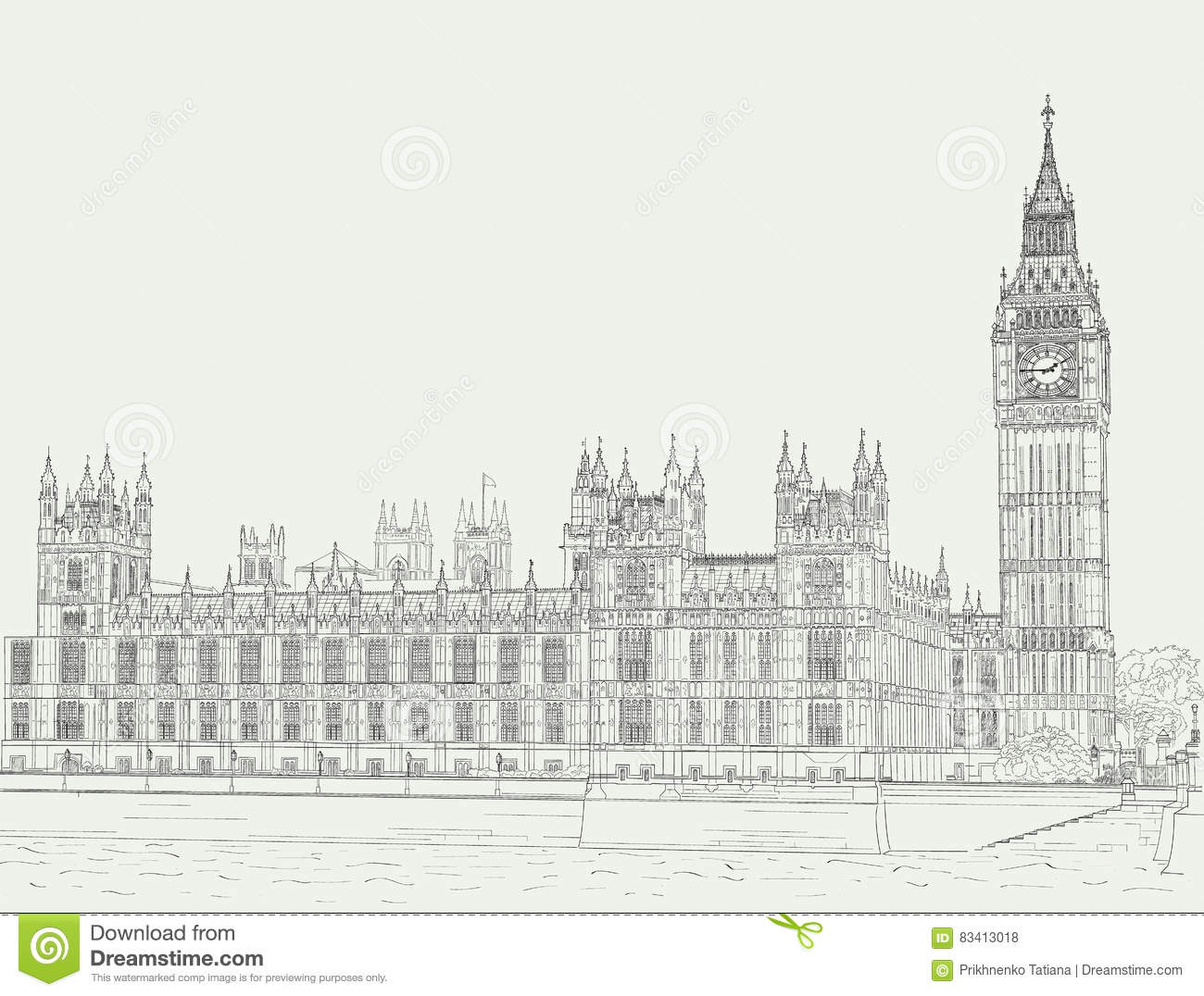 Sketch The Palace Of Westminster Stock Vector