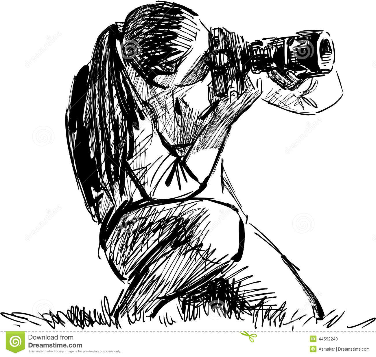 Sketch Of A Photographer Stock Vector Illustration Of