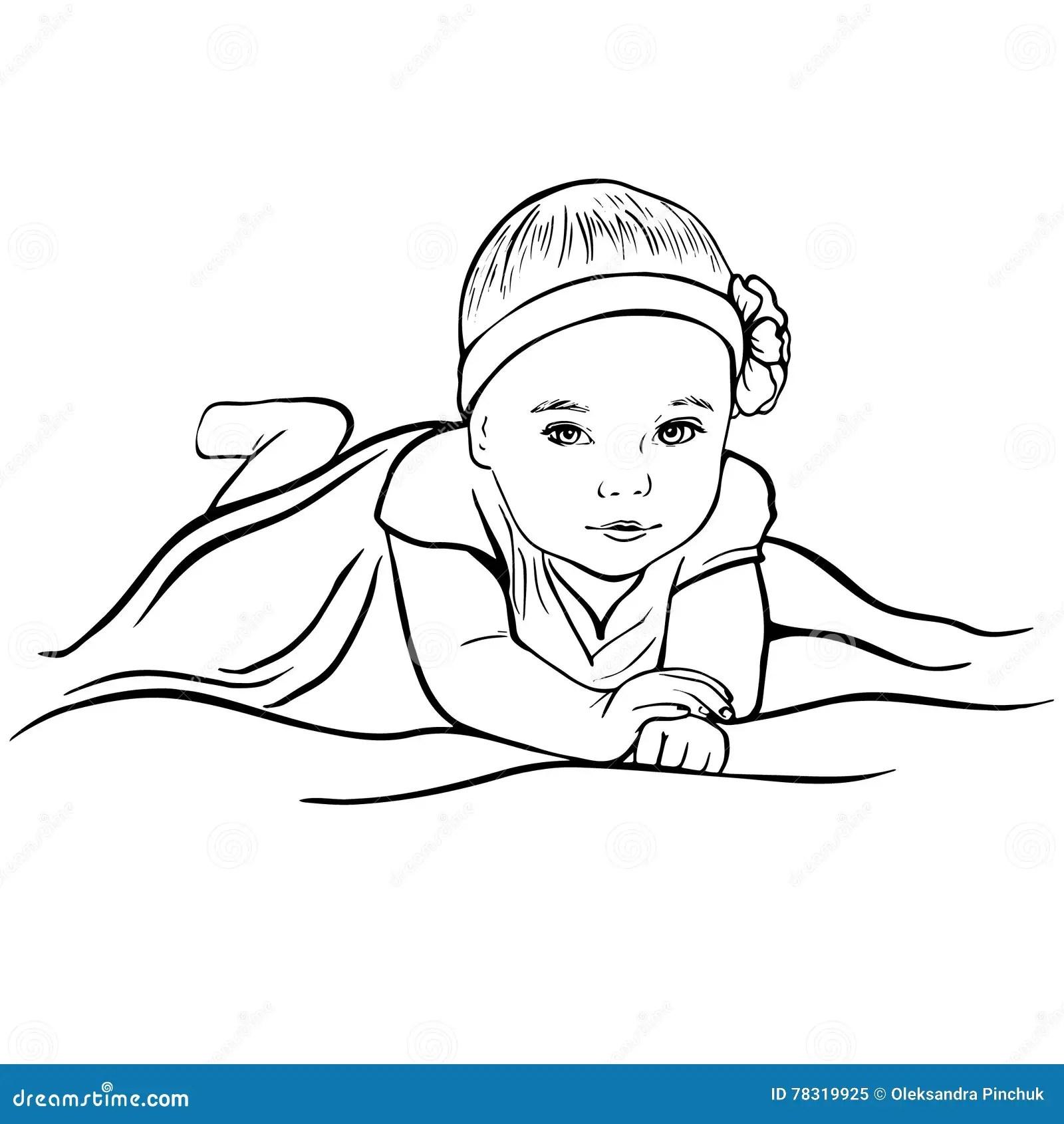 Sketch Portrait Of Pretty Baby Girl Stock Vector