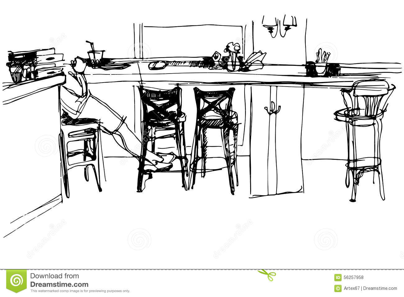 Sketch Of The Room At The Front Of The Bar Stock Vector