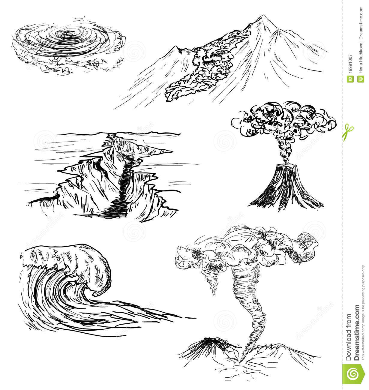 Sketch Of Six Natural Disasters Royalty Free Stock