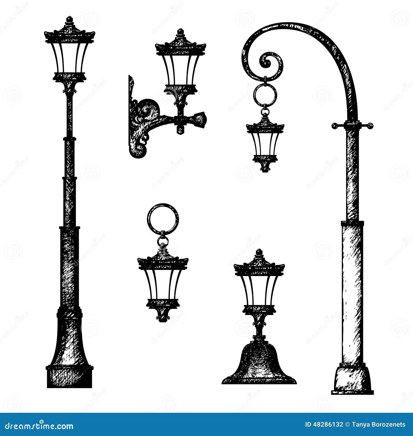 Sketch Of Street Lamp Stock Illustration Illustration Of