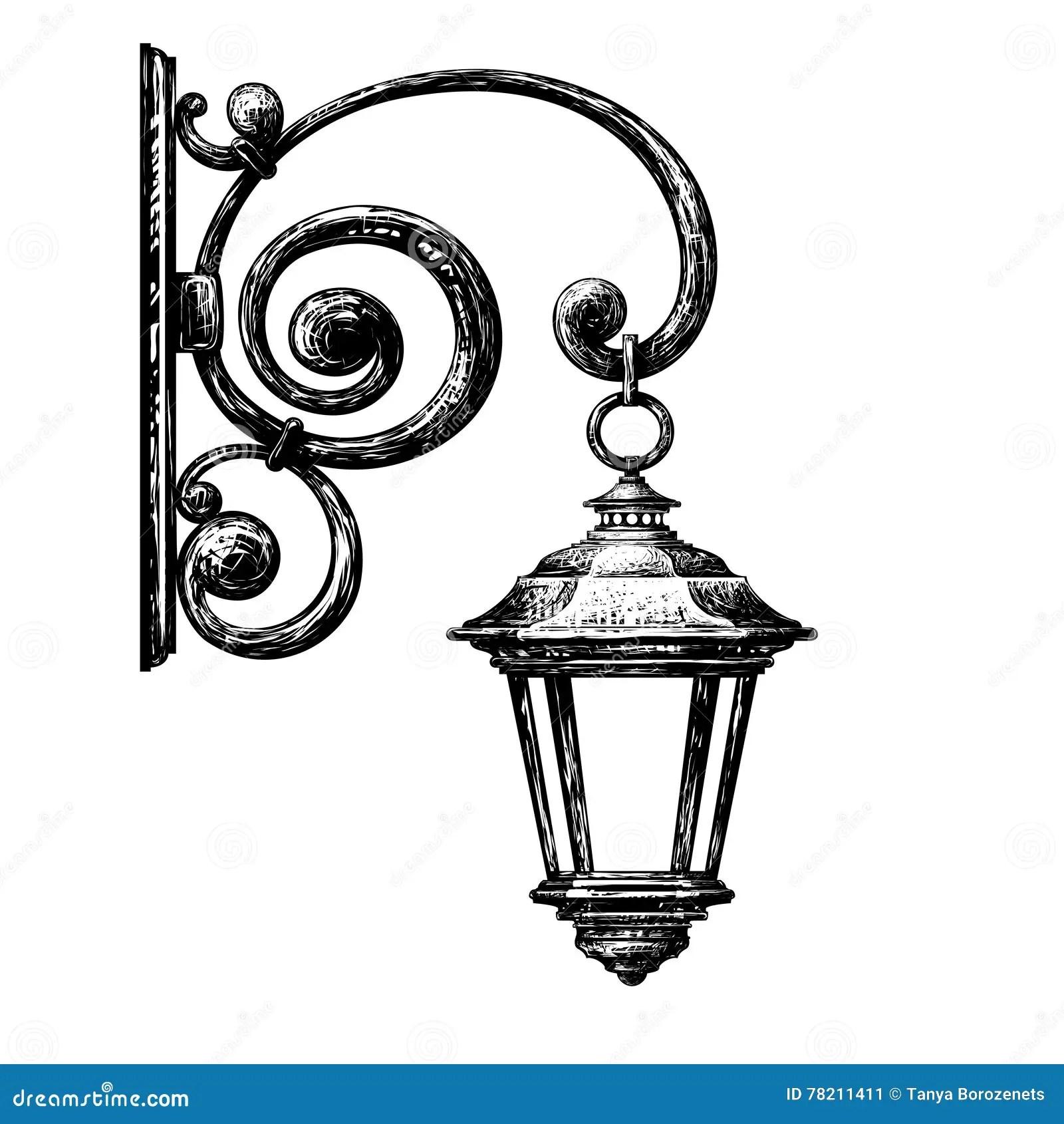 Sketch Of Street Light Street Post Stock Vector