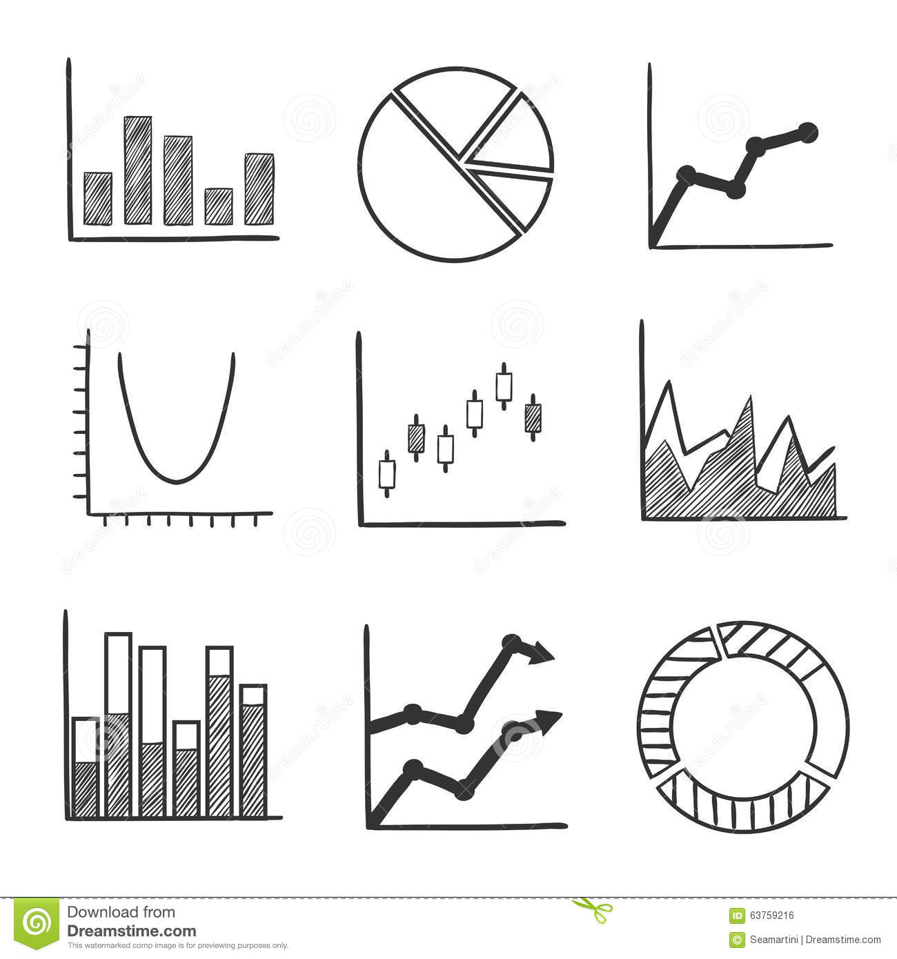 Sketch Style Icons Of Business Charts And Graphs Stock Vector