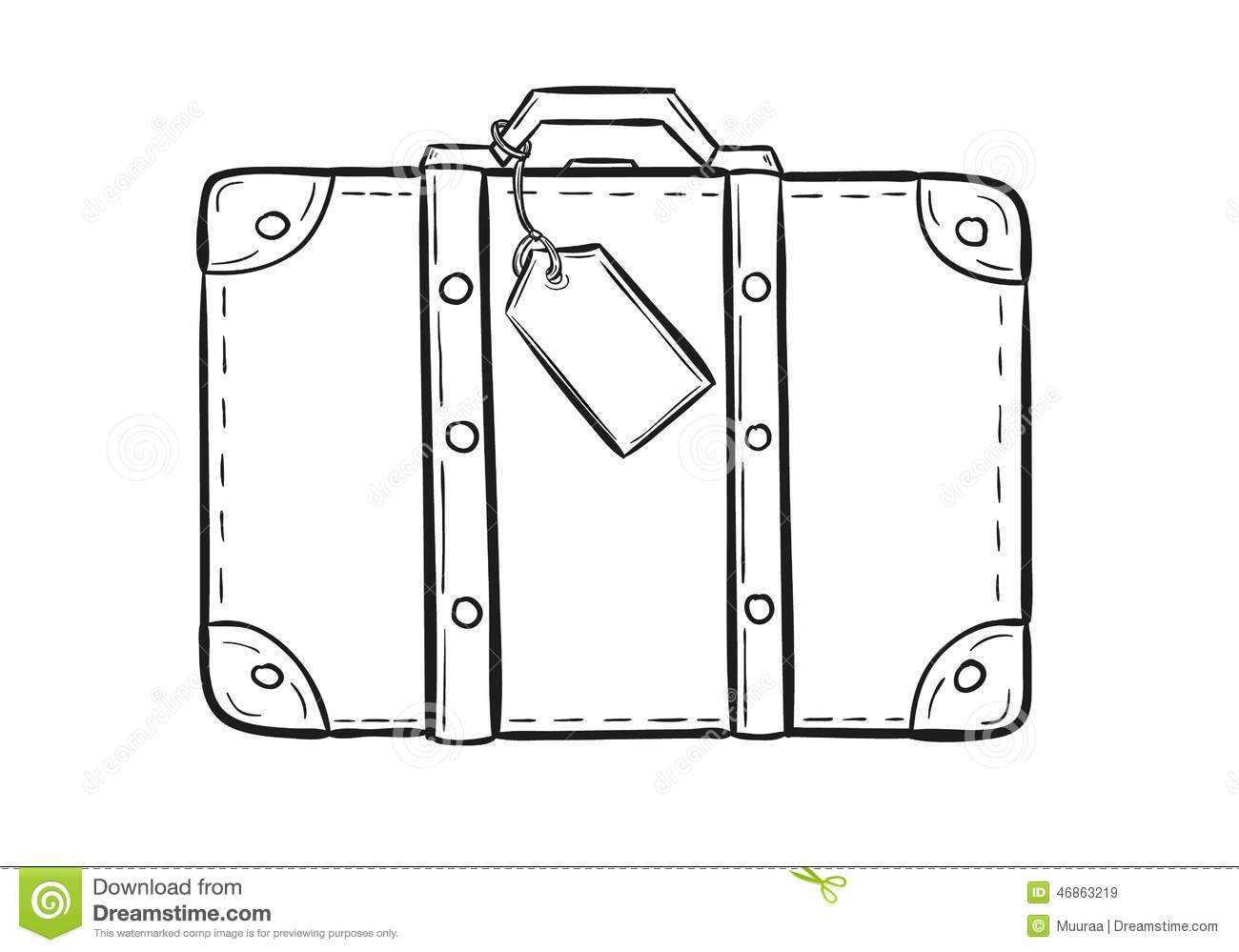 Sketch Of The Suitcase Stock Vector