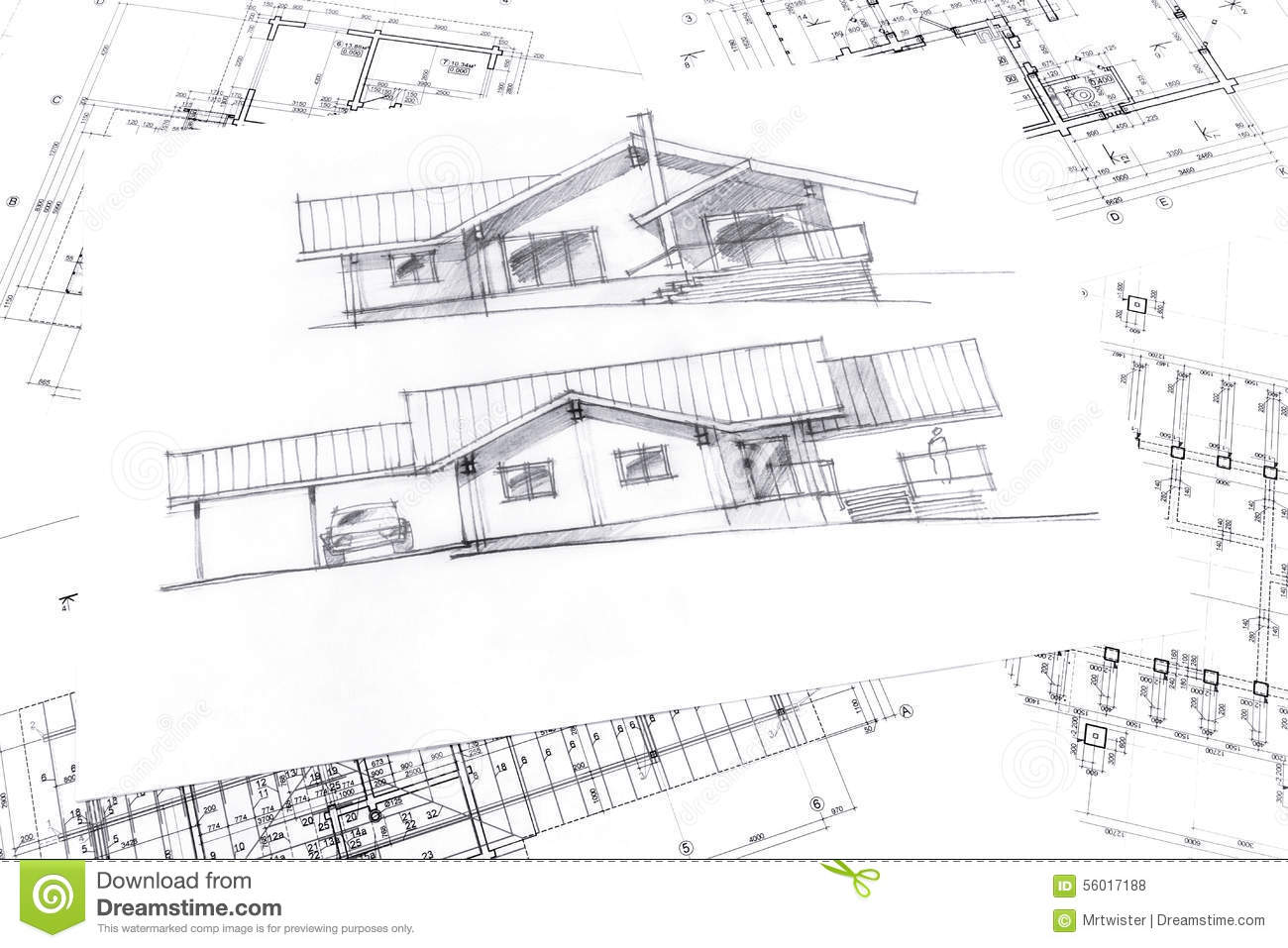 Sketch With Technical Project Drawings Stock Illustration