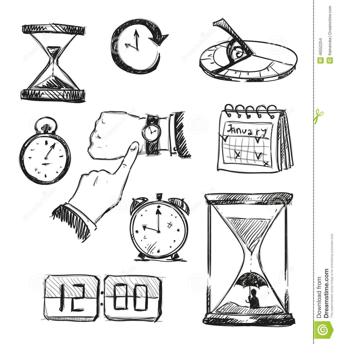 Sketch Of Time Symbols Time Icons Stock Vector