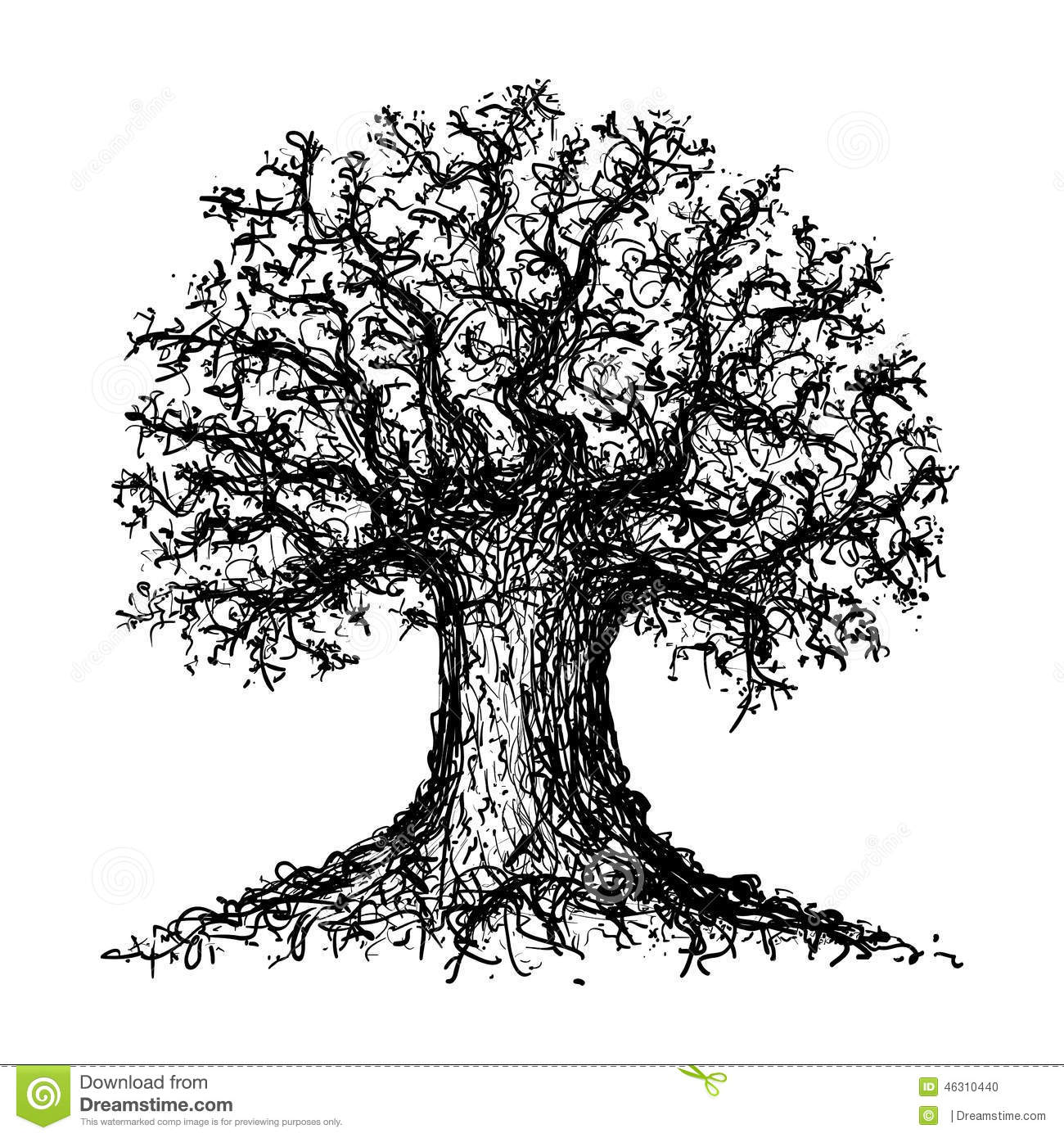 Sketch Of A Tree Stock Vector Illustration Of Tree
