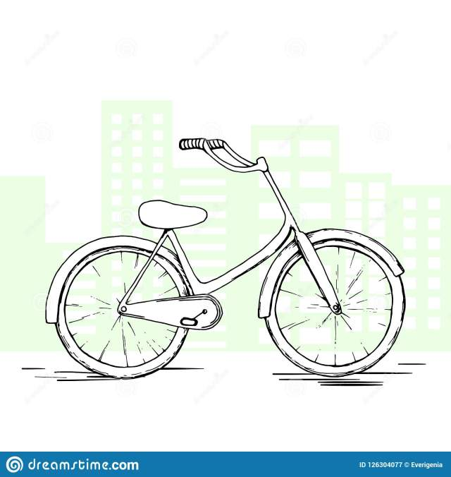 Sketch Vector Bicycle. Hand Drawn Isolated Element On Life ...