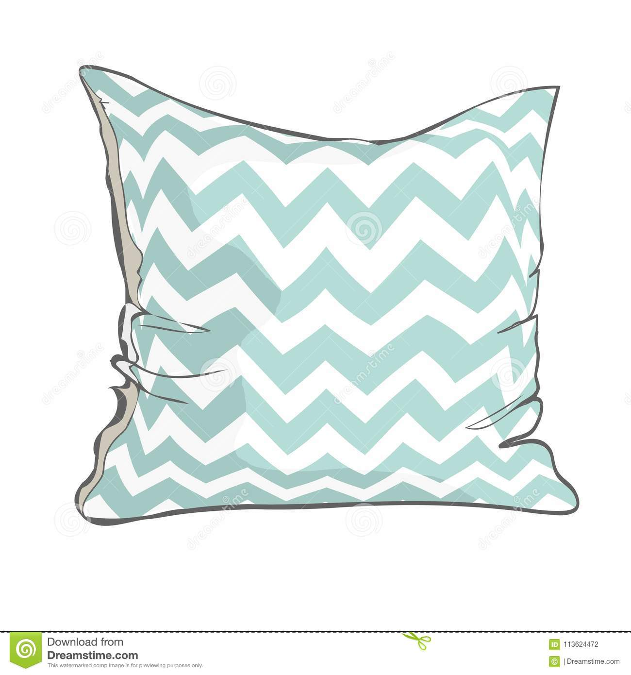 https www dreamstime com sketch vector illustration pillow art isolated white bed comfort design domestic fabric feather sleep soft style textile image113624472