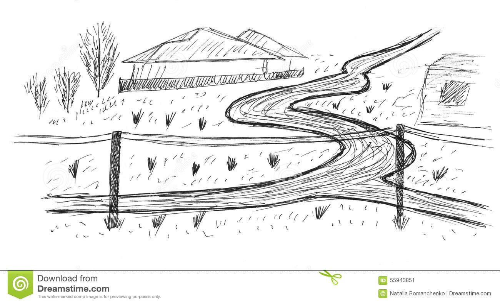 Sketch Of A Village Road Stock Illustration