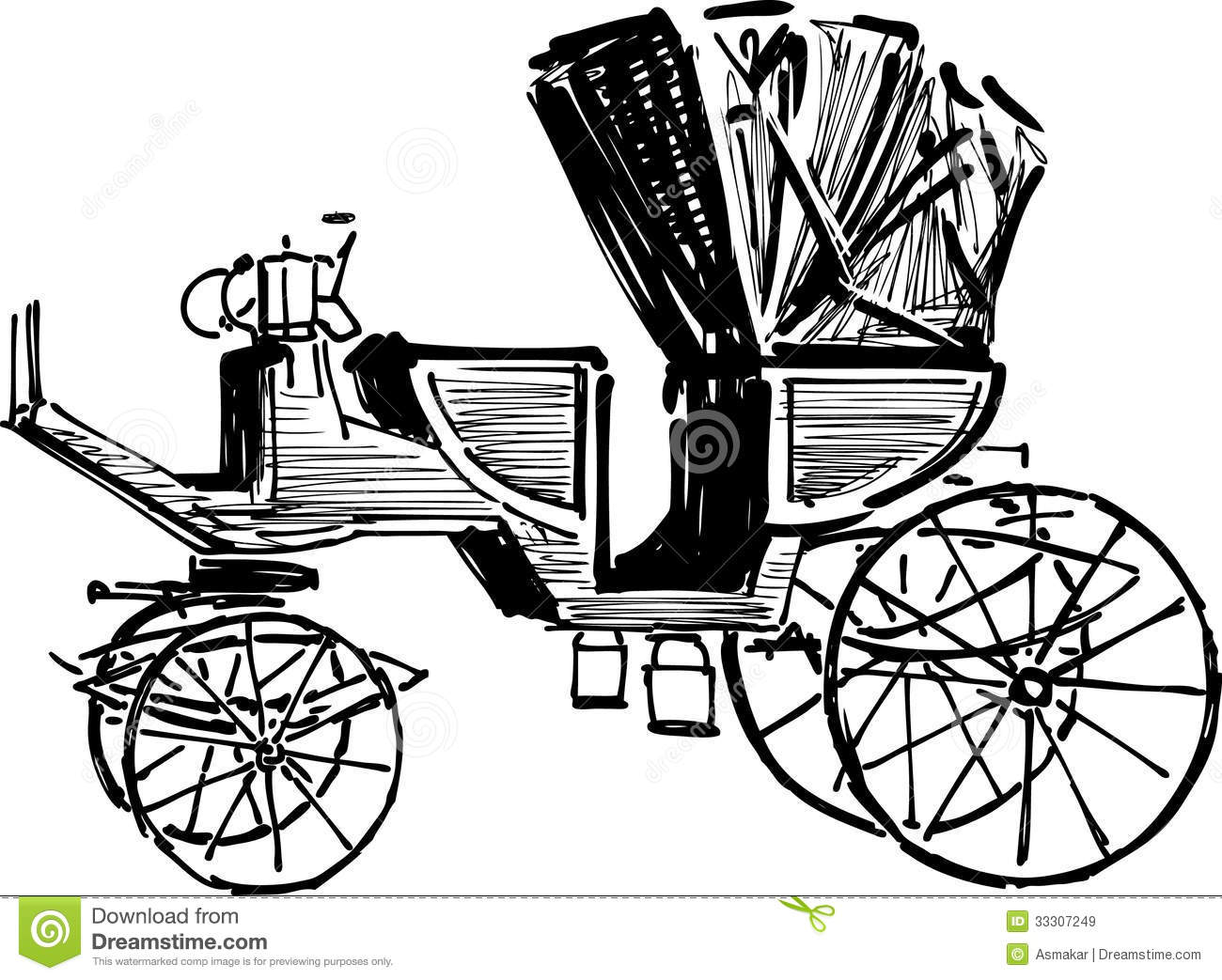 Sketch Of Vintage Carriage Stock Vector Illustration Of