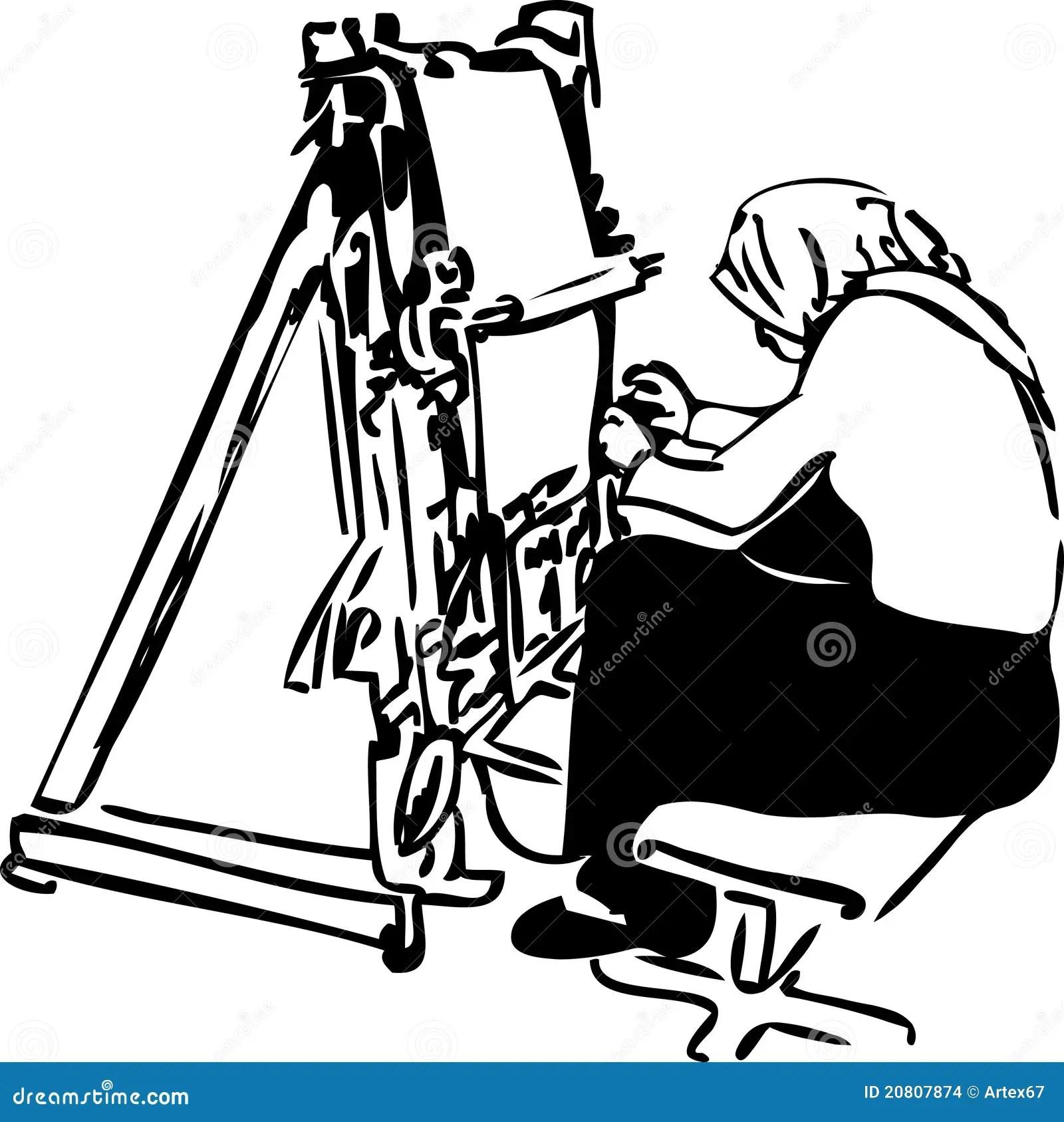 Sketch Of Women Weavers At The Loom Stock Vector
