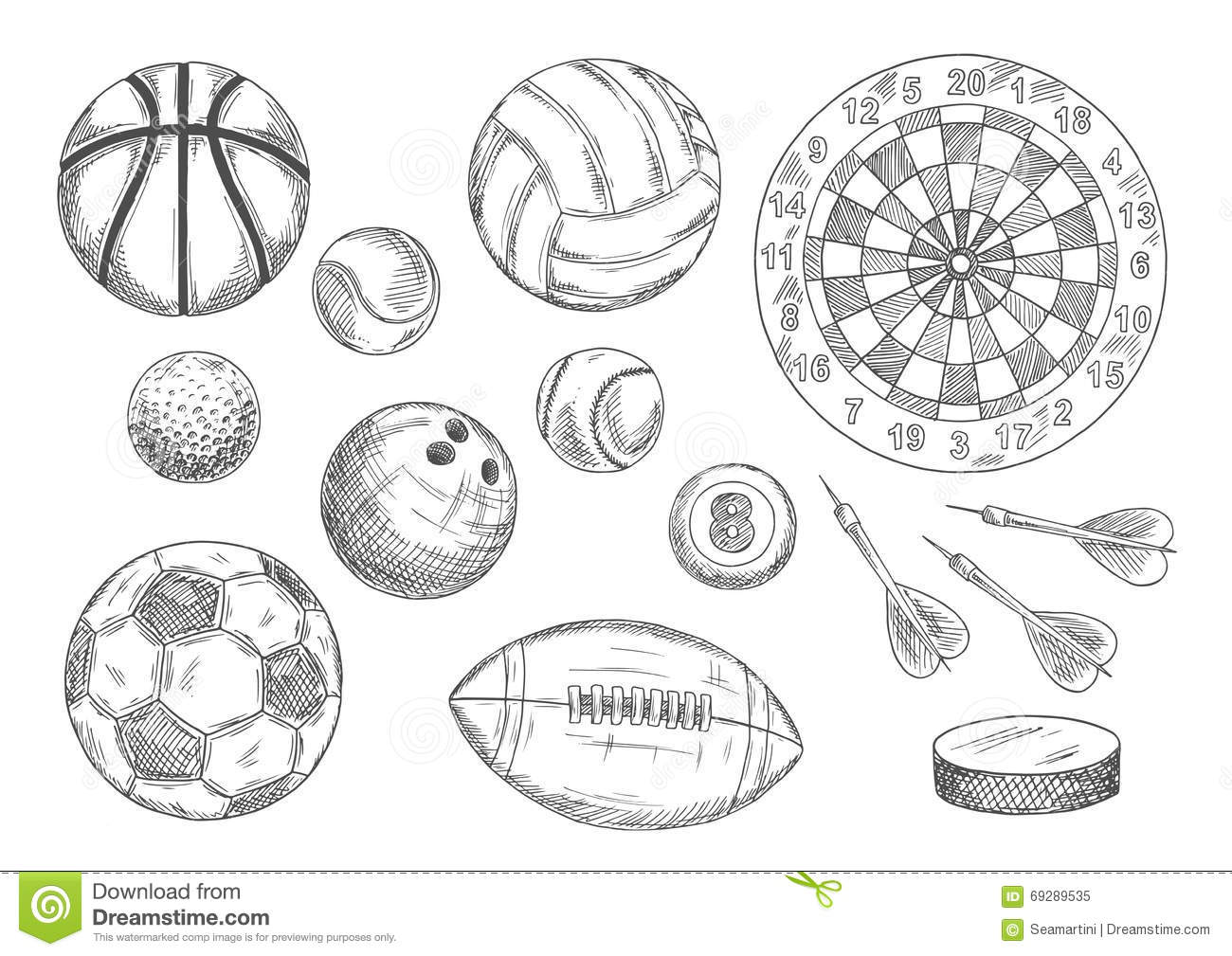 Sketched Balls Hockey Puck And Darts Items Stock Vector