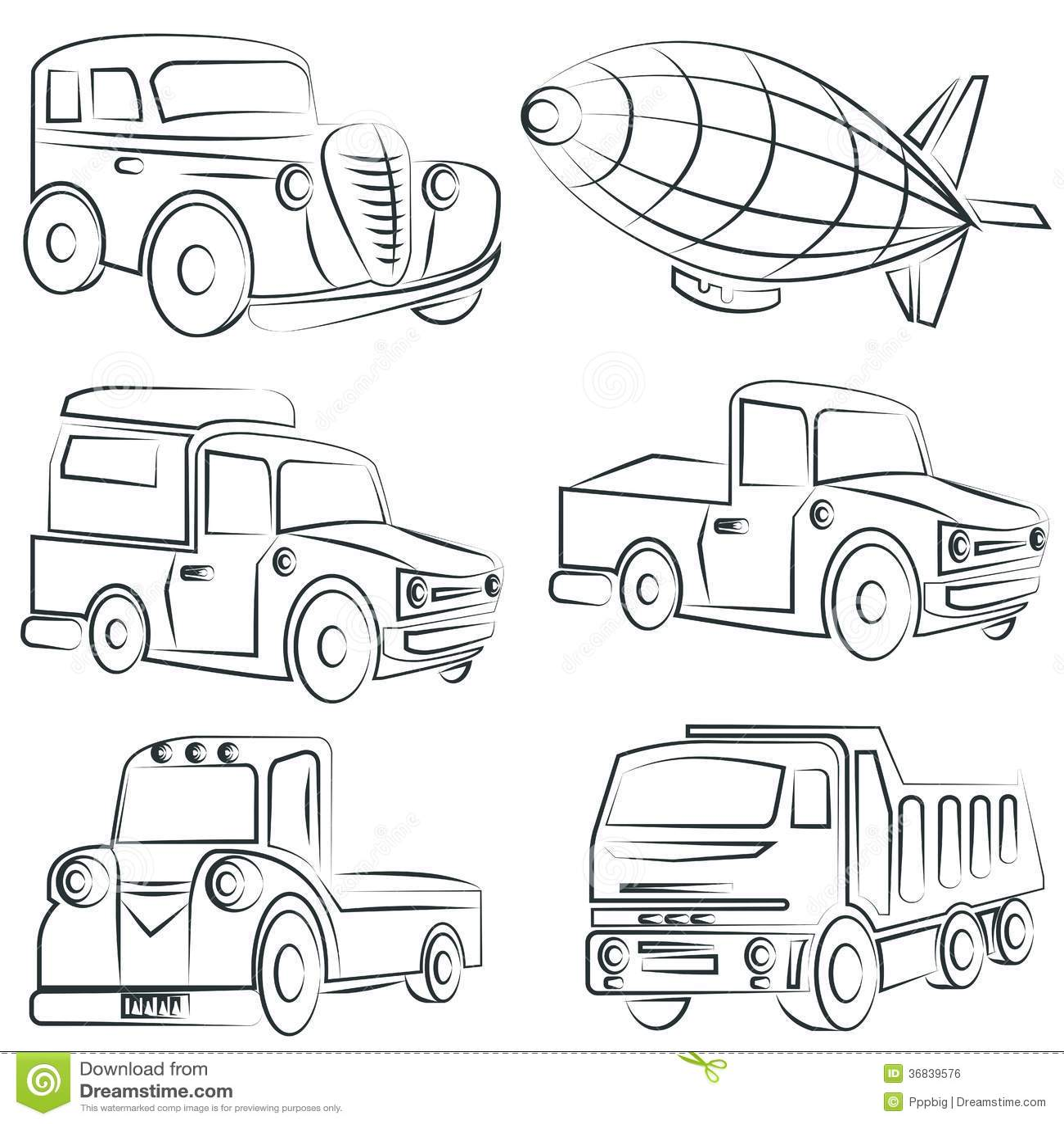 Sketched Car Truck Set Transportation Royalty Free Stock