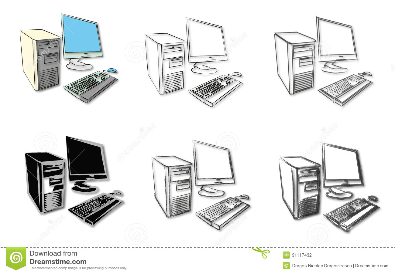 Sketches Of Desktop Computers Stock Photography