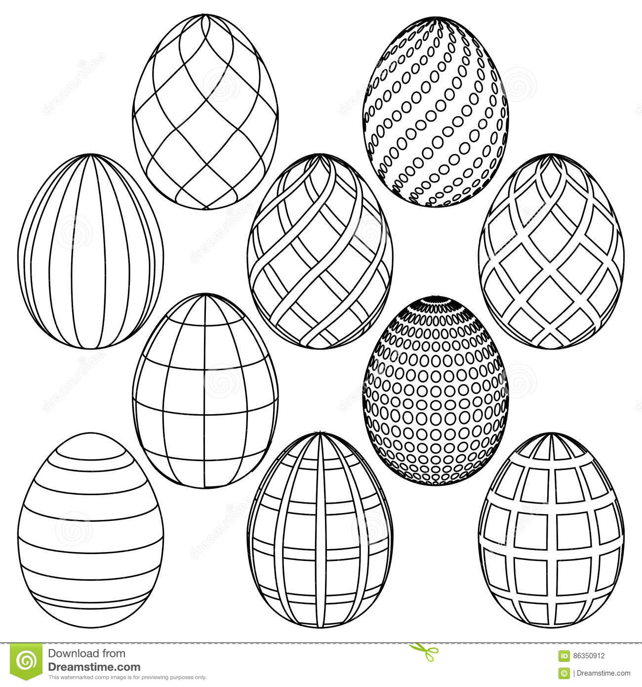 Sketches Of Easter Eggs For Coloring Vector Illustration