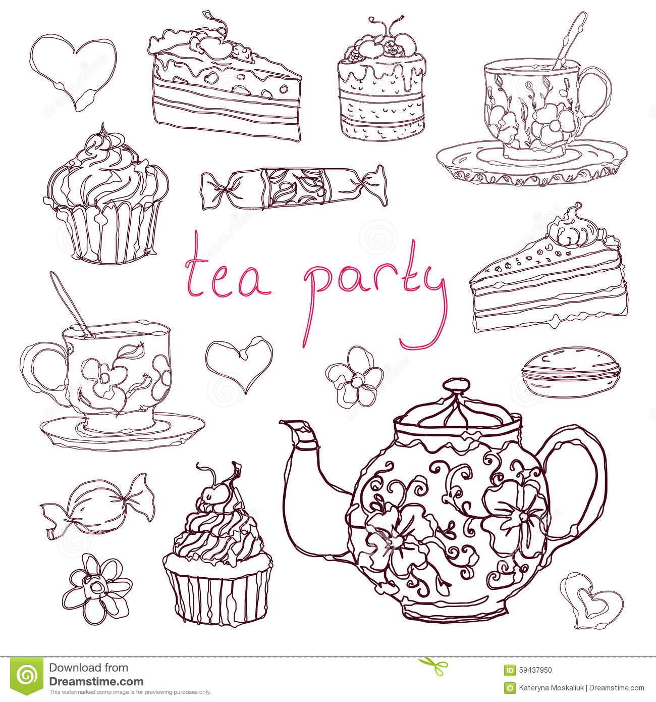 Sketches Hand Drawn Tea Party Elements Vector
