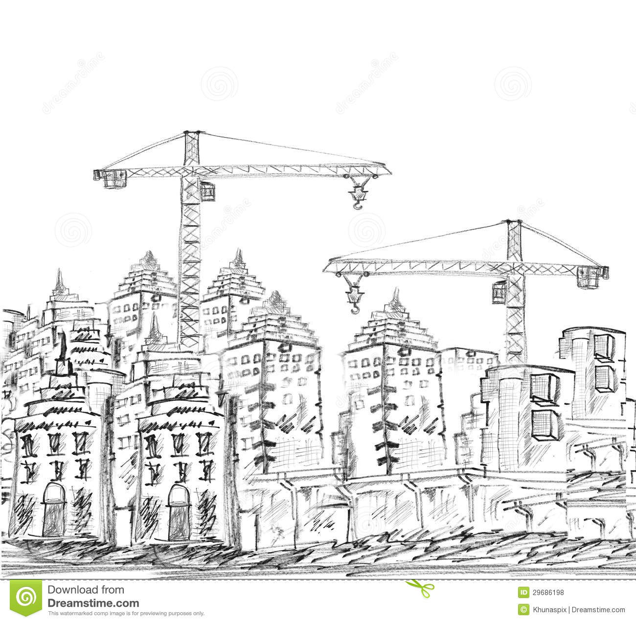 Sketching Of Modern Building And Construction Royalty Free