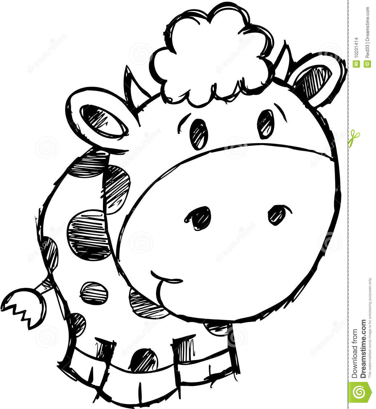 Sketchy Cow Vector Illustration Stock Images
