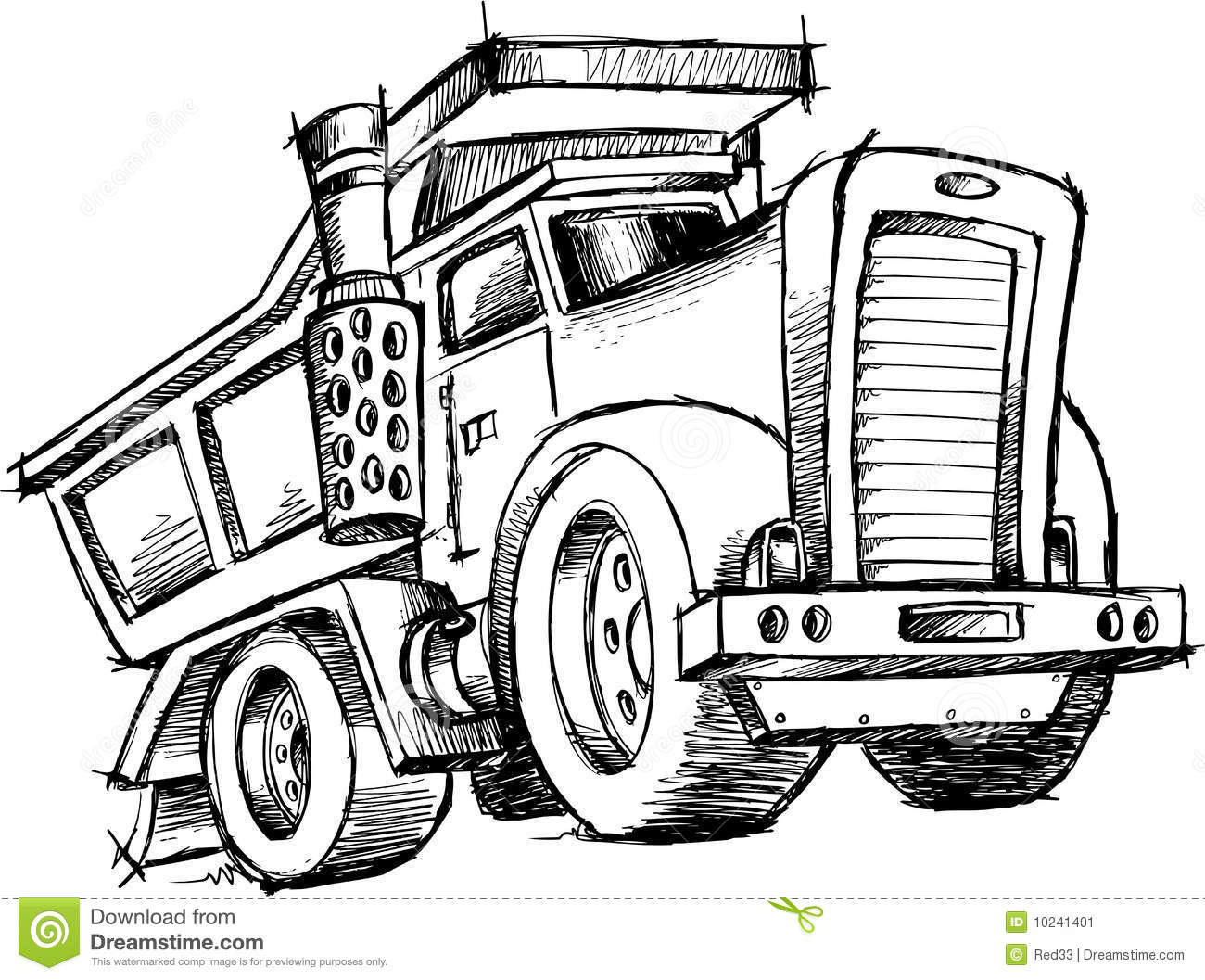 Sketchy Dump Truck Vector Stock Vector Illustration Of