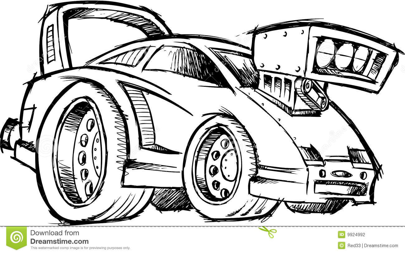 Sketchy Hot Rod Race Car Vector Stock Vector