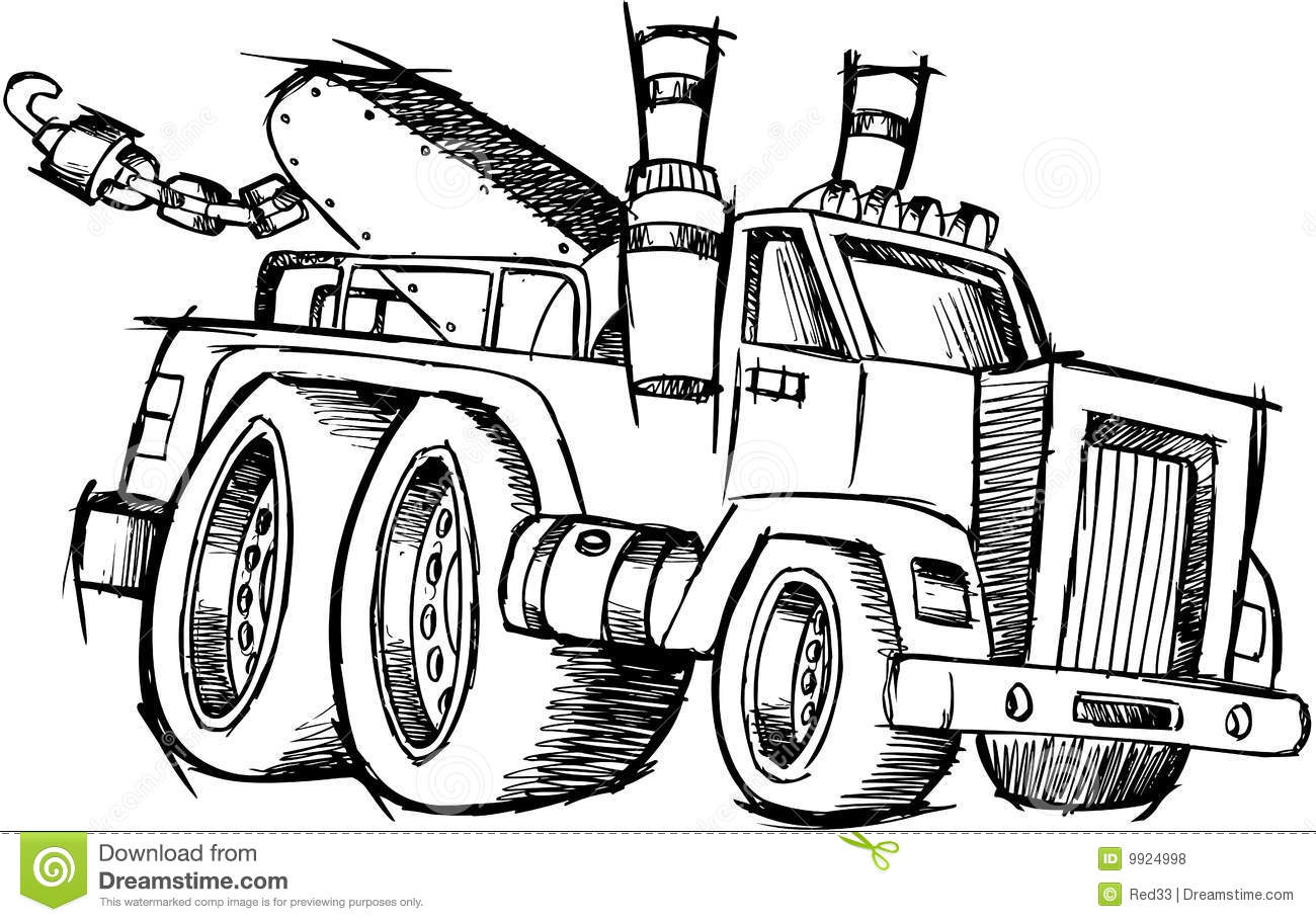 Sketchy Tow Truck Vector Royalty Free Stock Photos