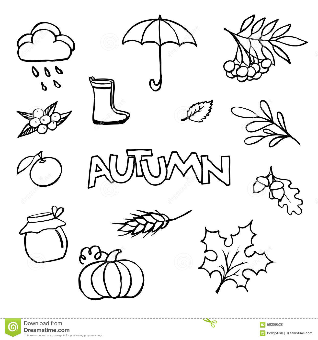 Sketchy Vector Hand Drawn Doodle Cartoon Set Of Objects On