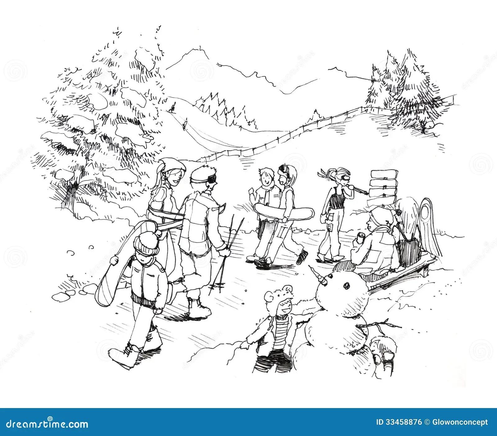Ski Gondola In Winter Snow Cartoon Drawing Royalty Free