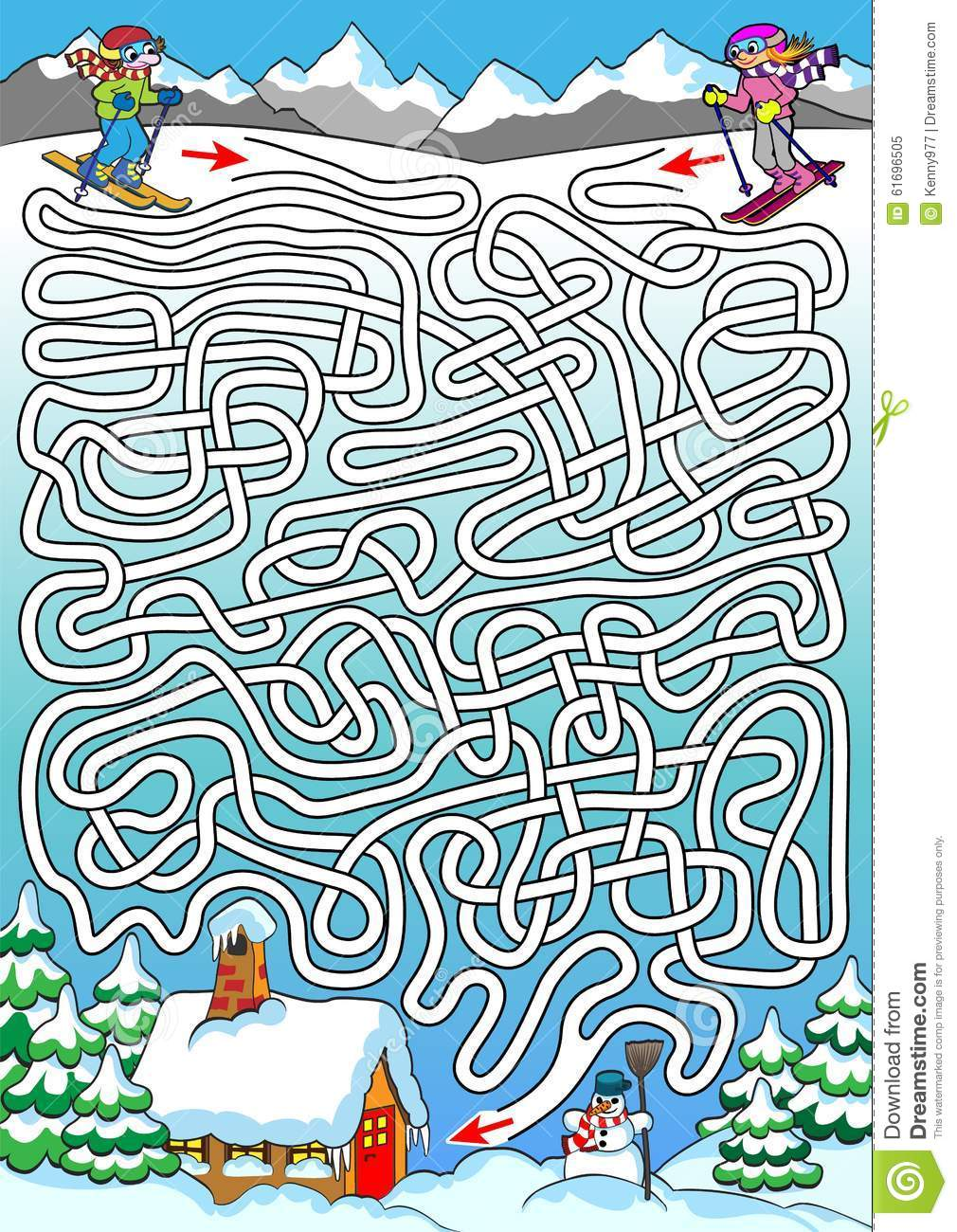 Skiing Labyrinth For Kids Hard Stock Vector