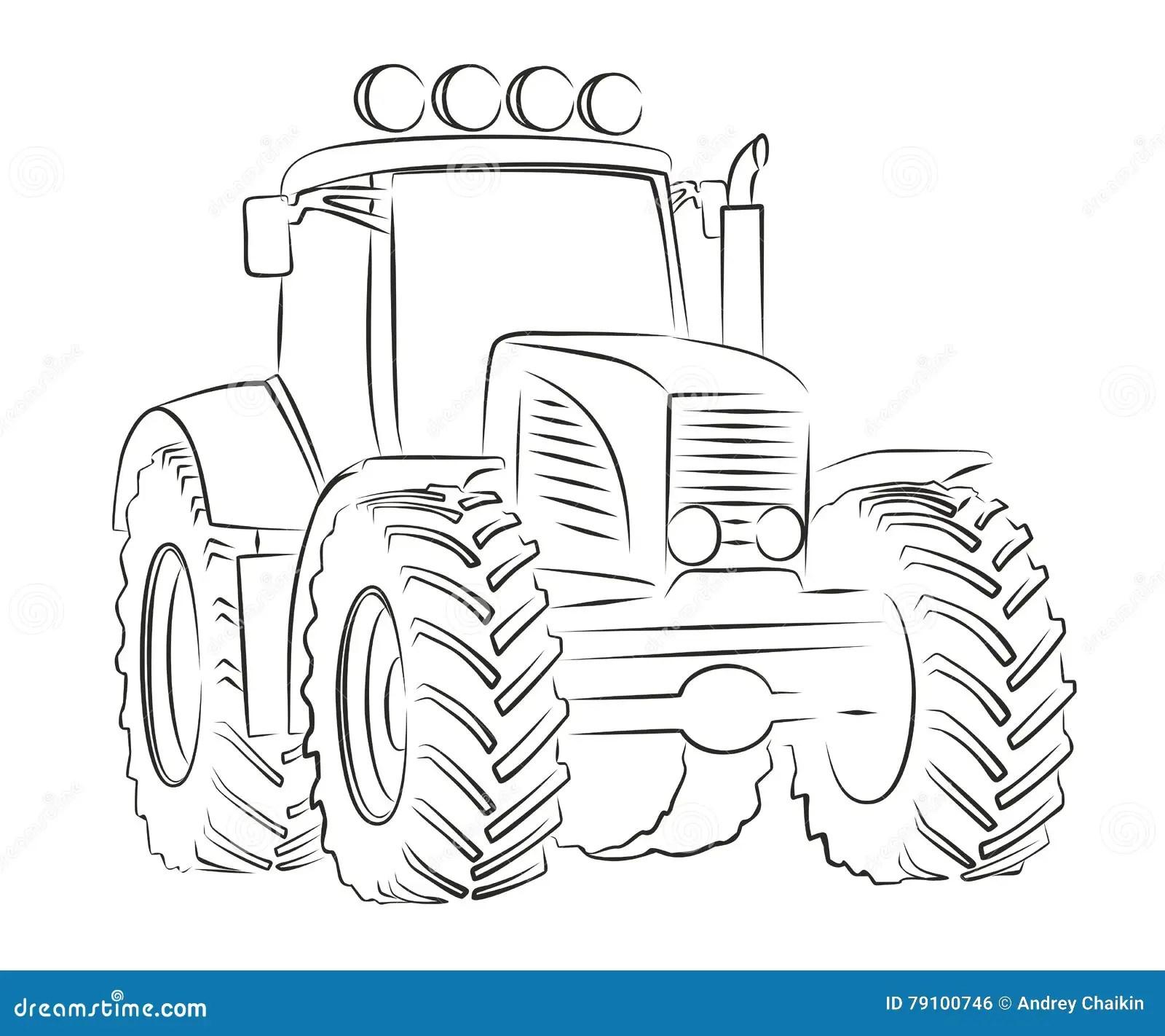 Skizze Des Traktors Vektor Abbildung Illustration Von