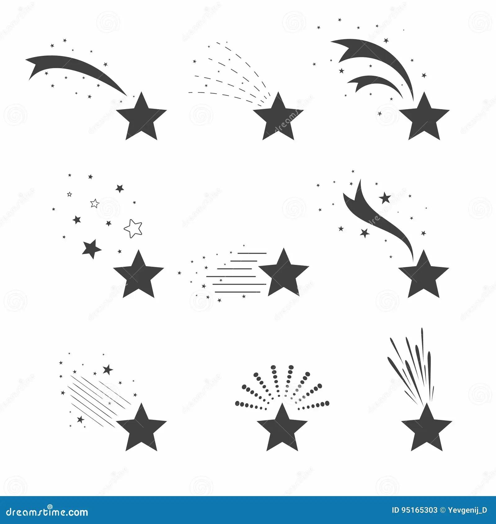 Skjuta Symboler For Fallande Stjarnor Symboler Av Meteoriter Och Komet Fallande Stjarnor Med