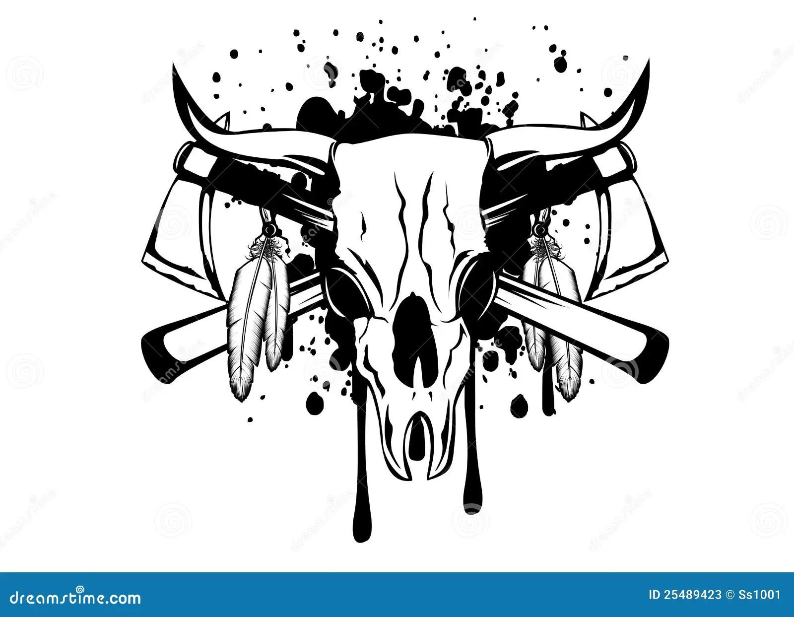 Skull Bull And Crossed Axes Cartoon Vector