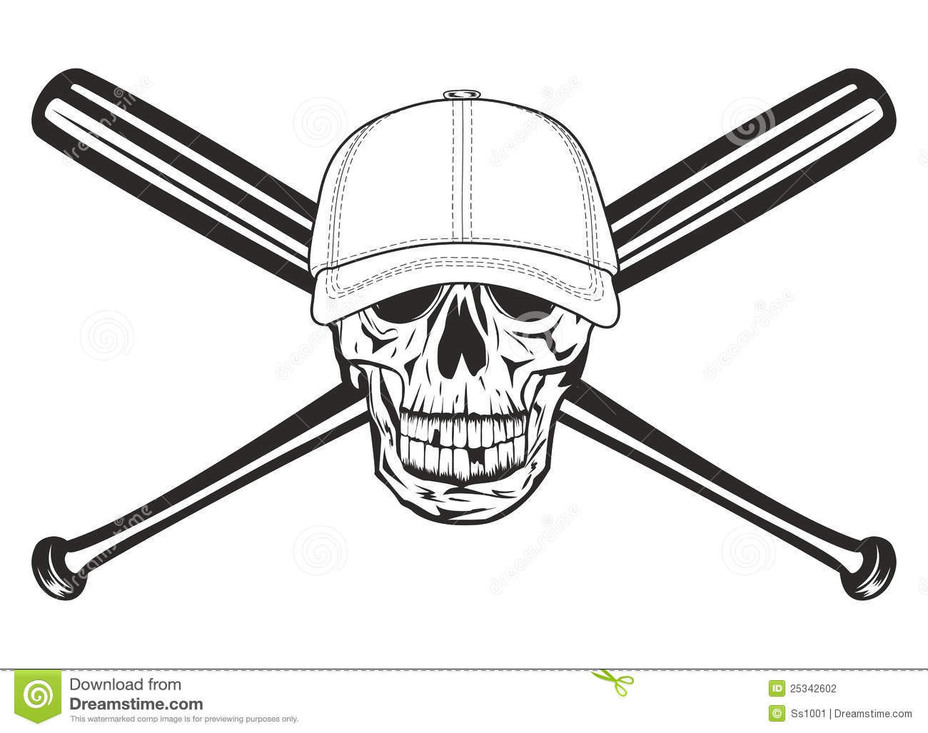 Skull And Crossed Bats Stock Vector Illustration Of