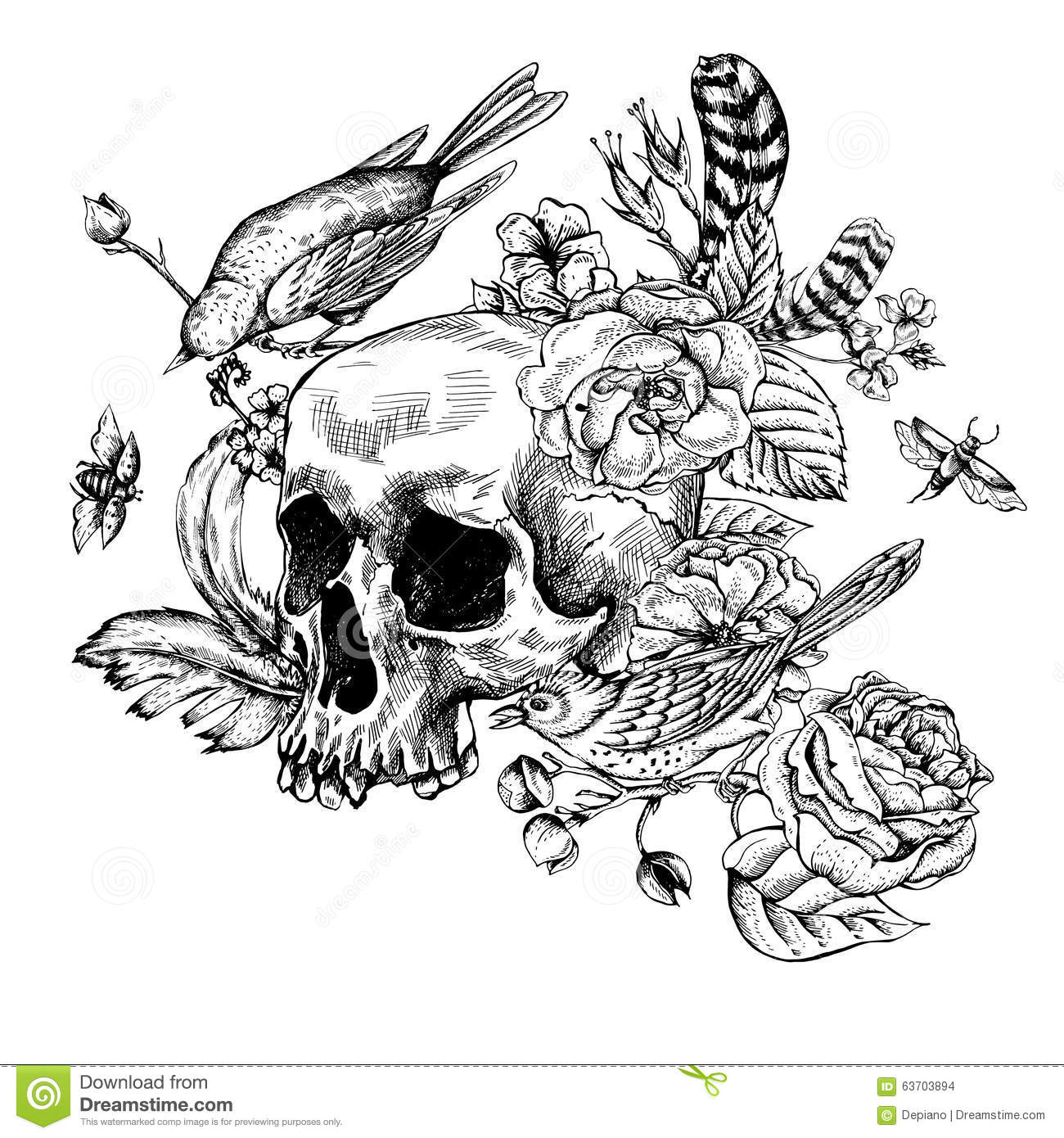 Skull With Flowers Roses Birds And Feathers Stock Vector