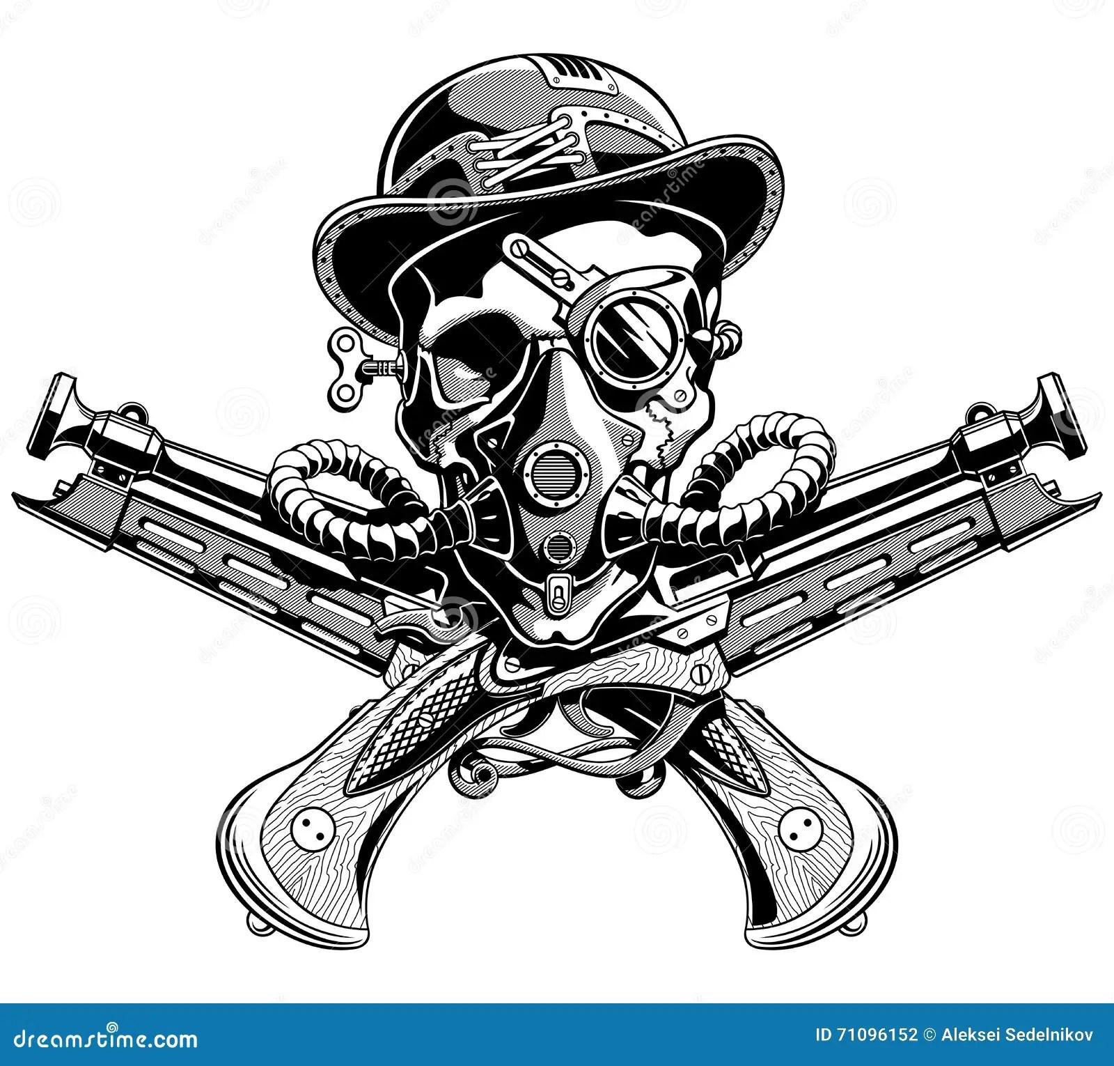 Skull Hat Crossed Pistols Pirate Jolly Roger Steampunk