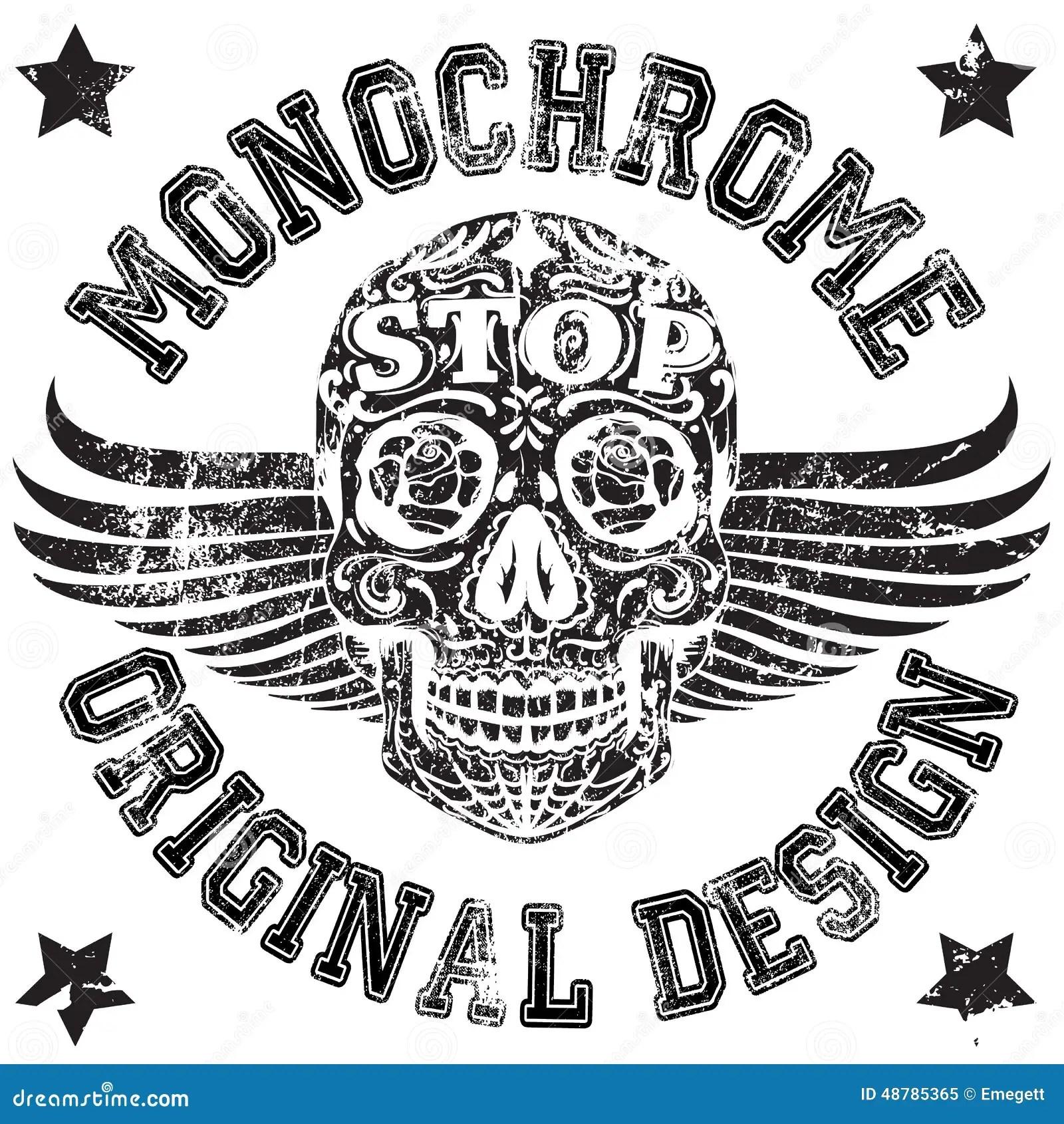 Skull Monochrome College Man Boy T Shirt Design Stock