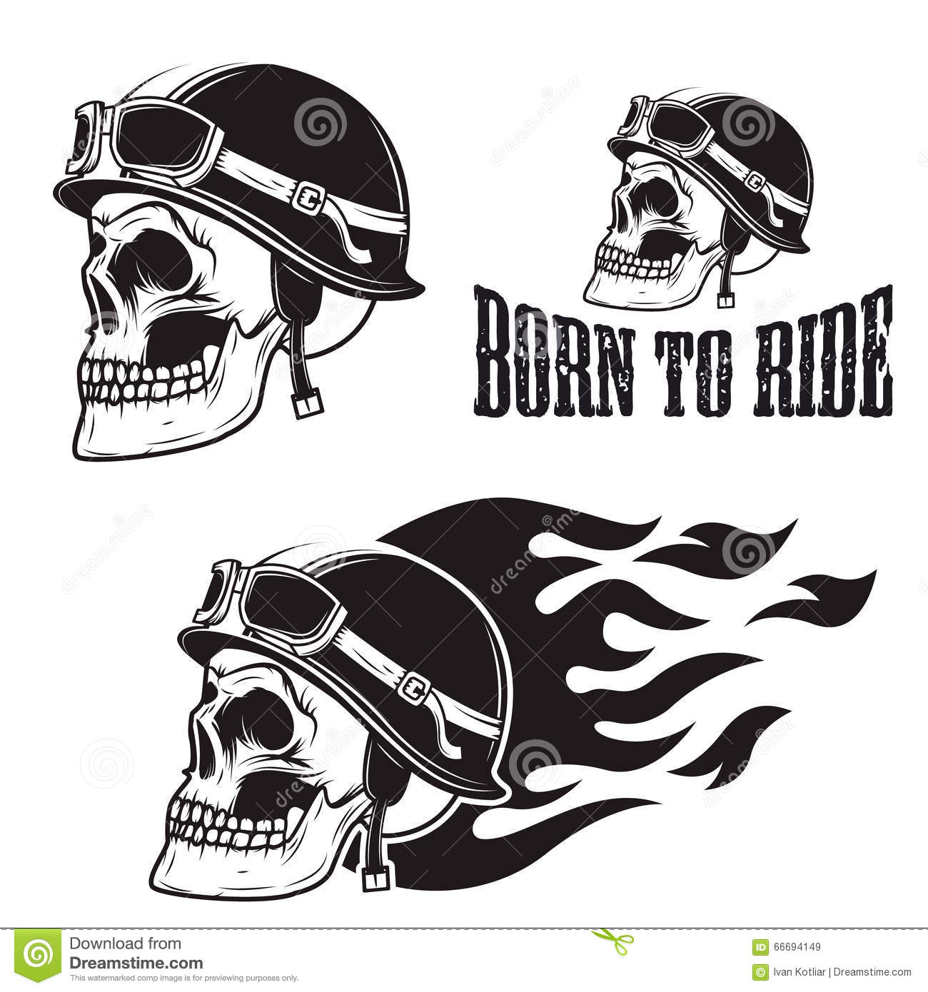 Skull In Motorcycle Helmet With Fire Born To Ride Stock