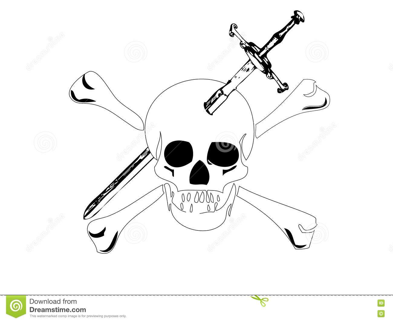 Skull With A Sword In Head Stock Vector Illustration Of