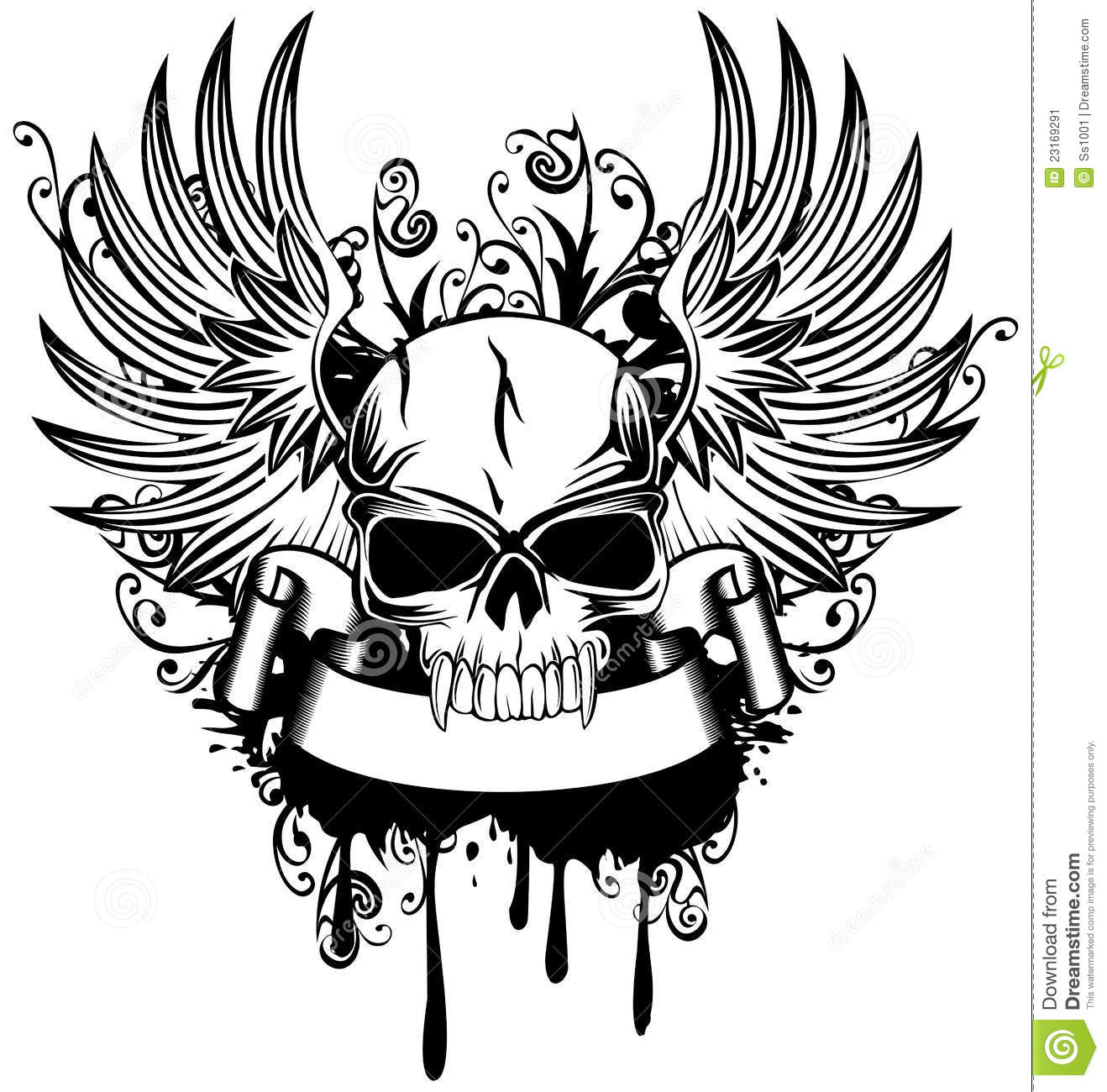 Skull With Wings Stock Vector Illustration Of Icon