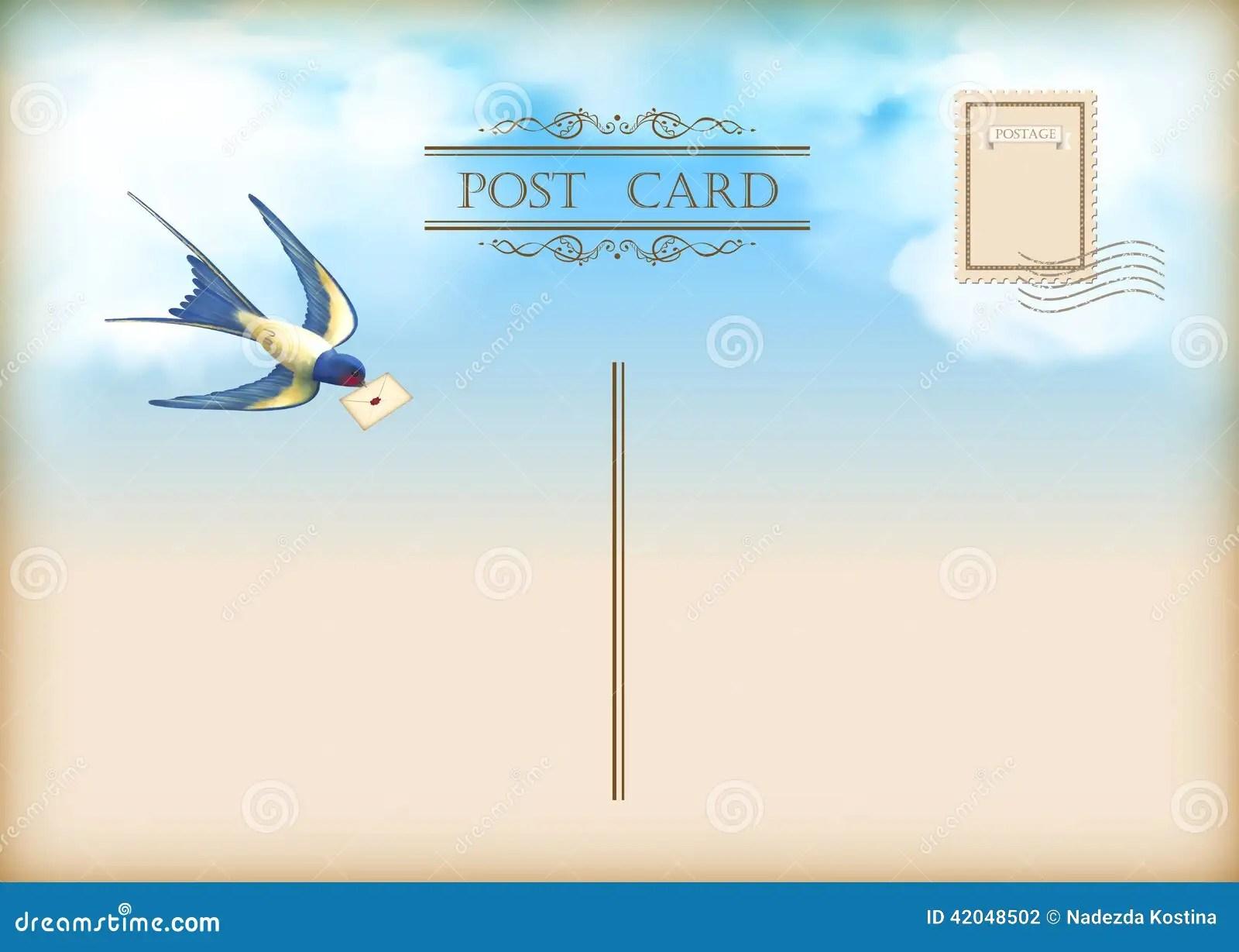 Sky Bird Letter Mail Postcard Stock Vector Image 42048502