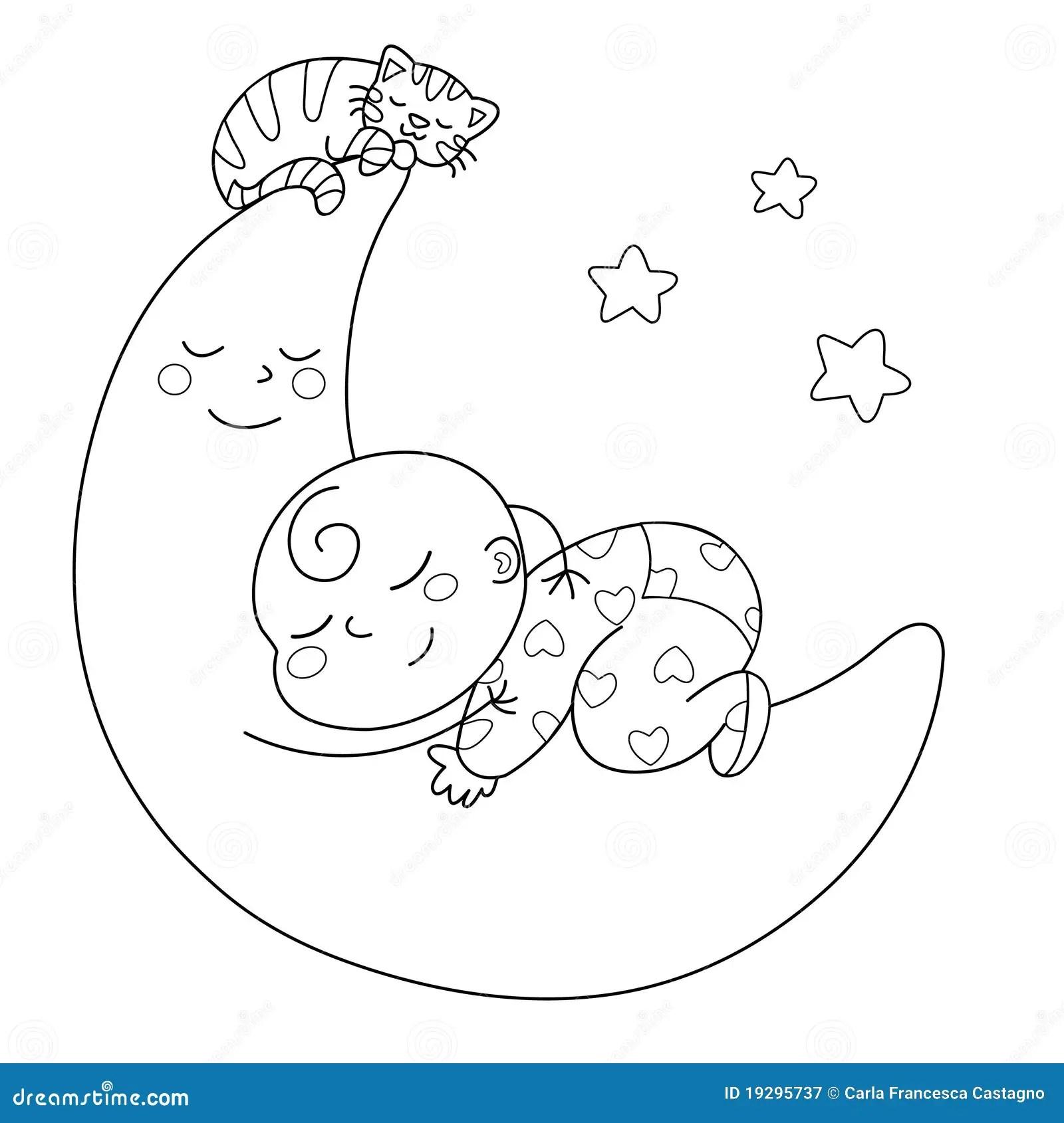 Sleeping Baby Stock Vector Illustration Of Moon White