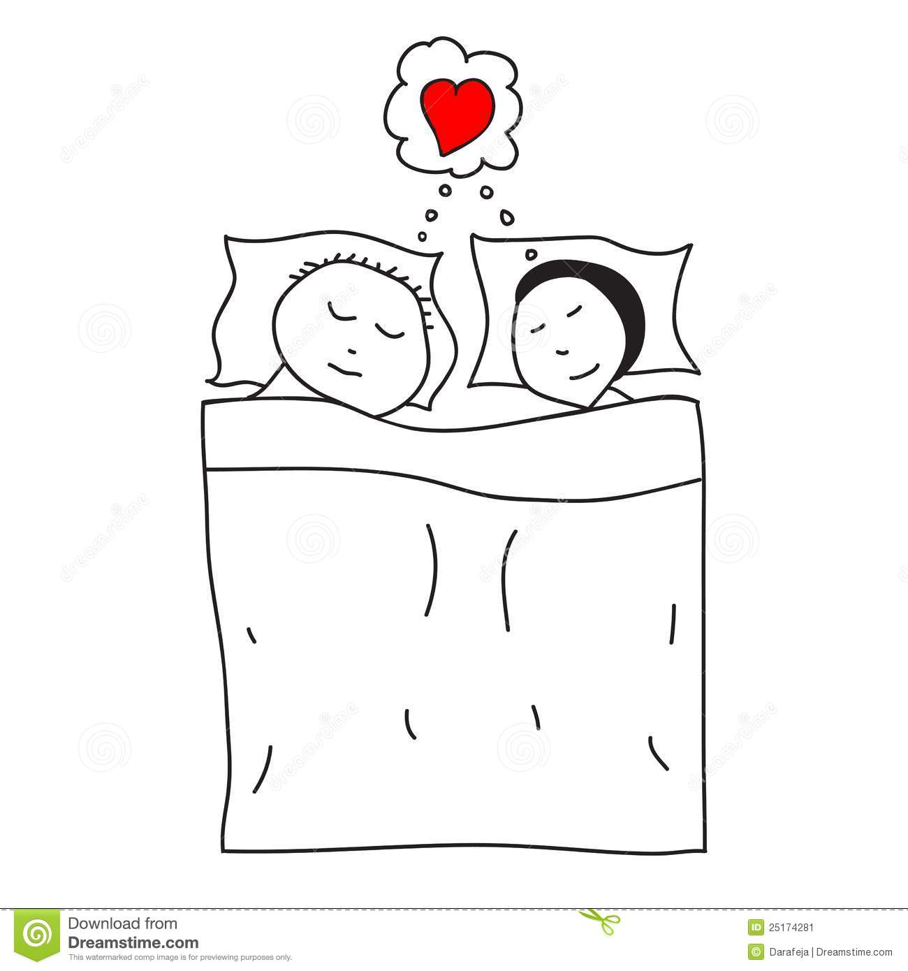 Sleeping Couple In The Bed Stock Vector Illustration Of