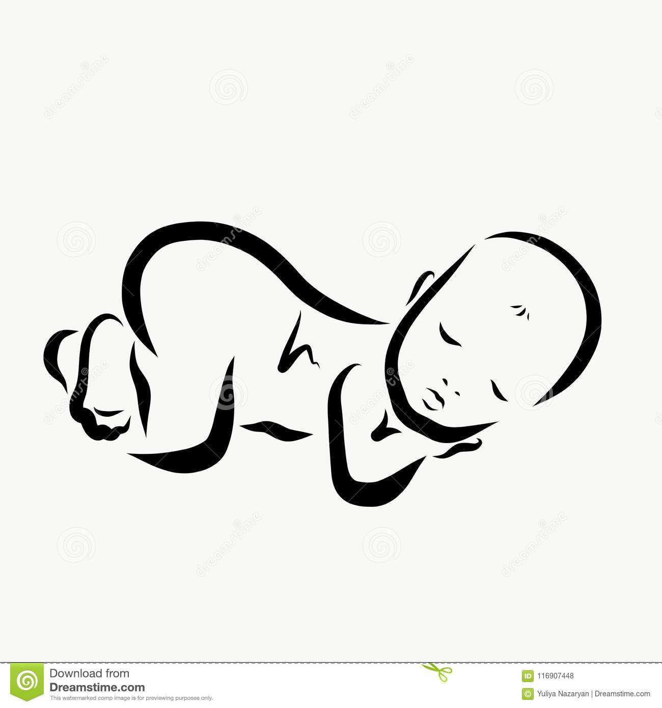 A Sleeping Newborn Baby A Black Sketch Stock Illustration