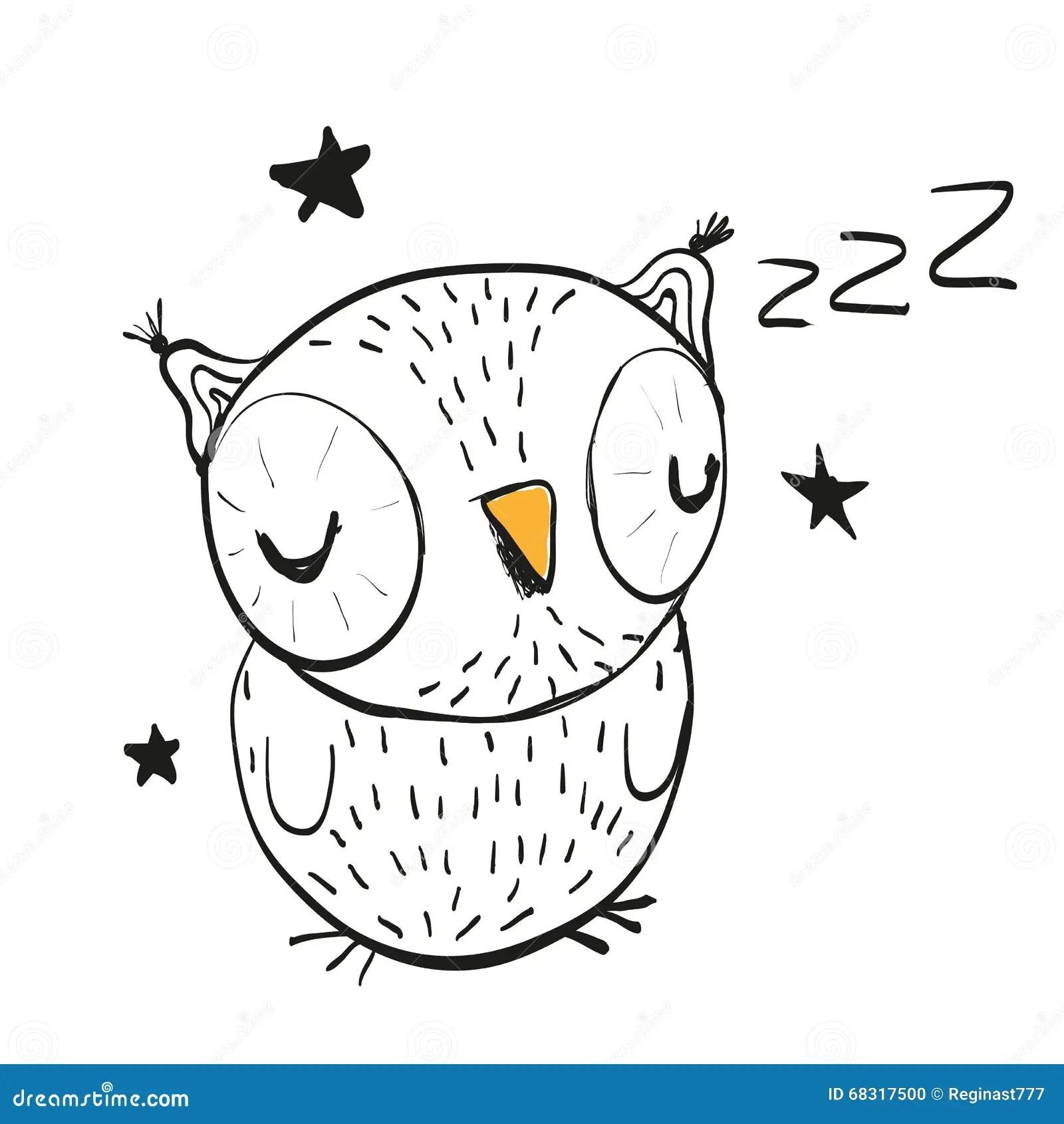 Sleeping Owl Stock Vector Illustration Of Child Animals