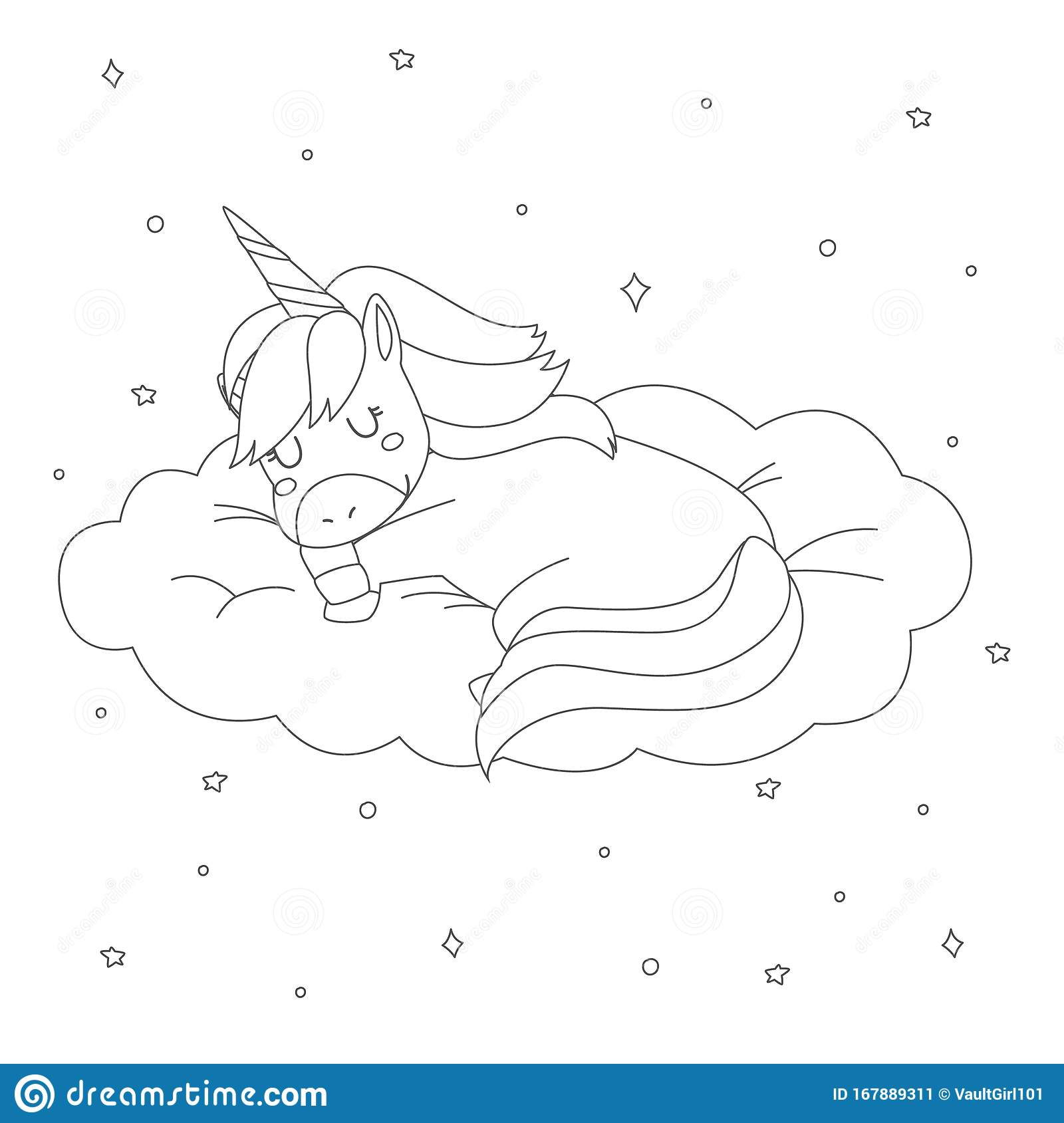 Sleeping Unicorn Coloring Page For Kids Vector Design Stock Vector Illustration Of Kids Character 167889311