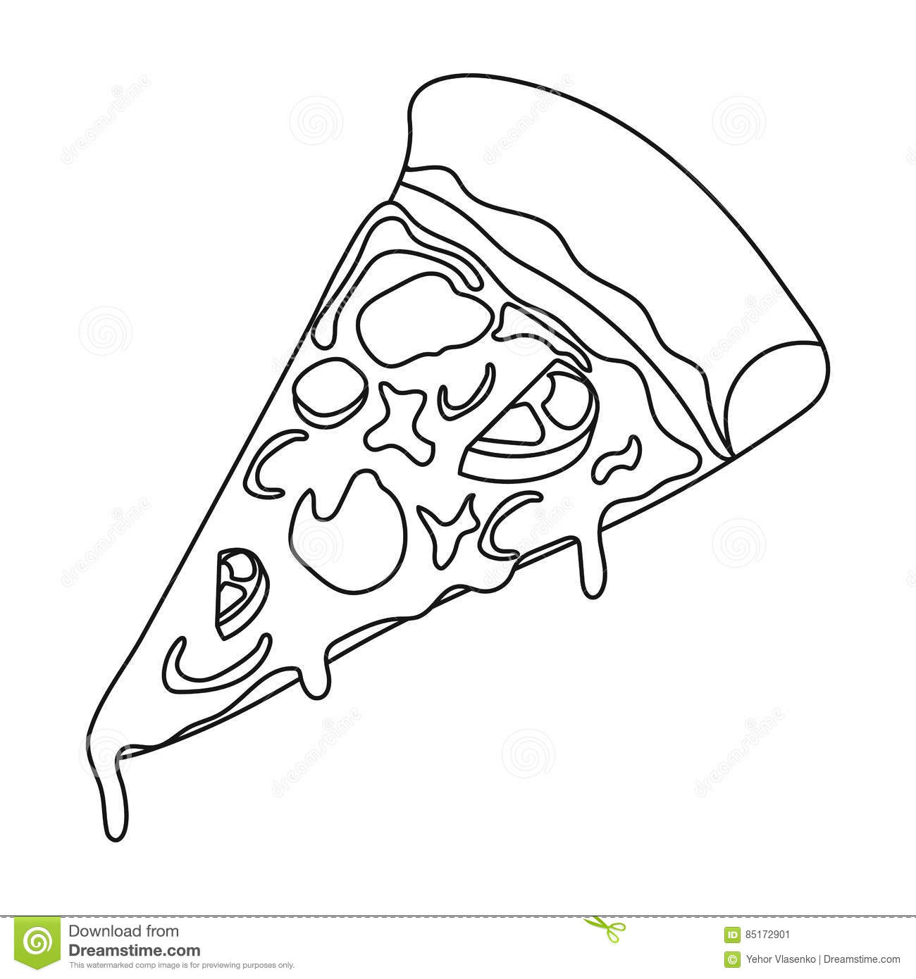 Slice Of Pizza Icon In Outline Style Isolated On White
